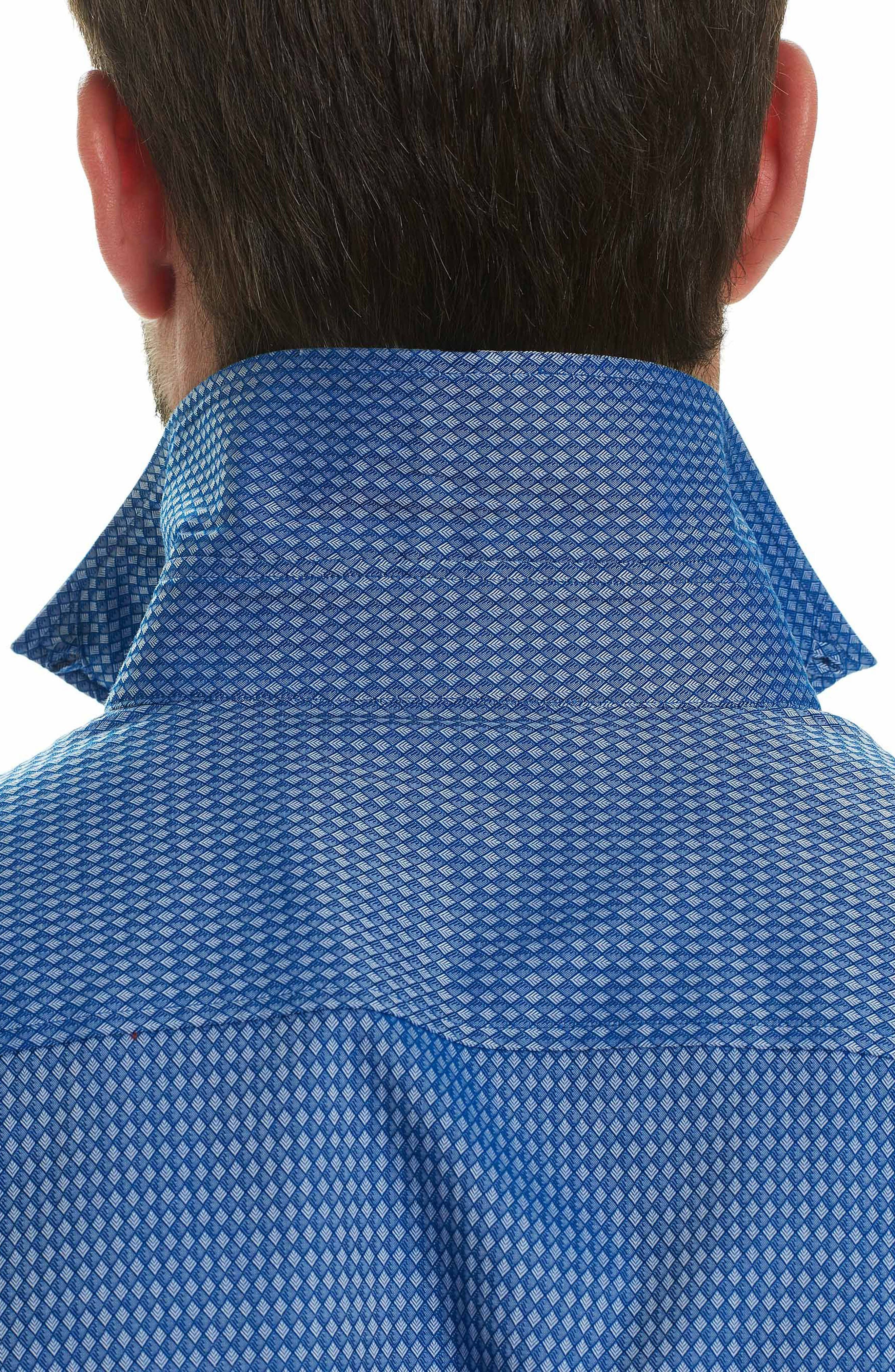 Matthew Tailored Fit Print Sport Shirt,                             Alternate thumbnail 3, color,                             410