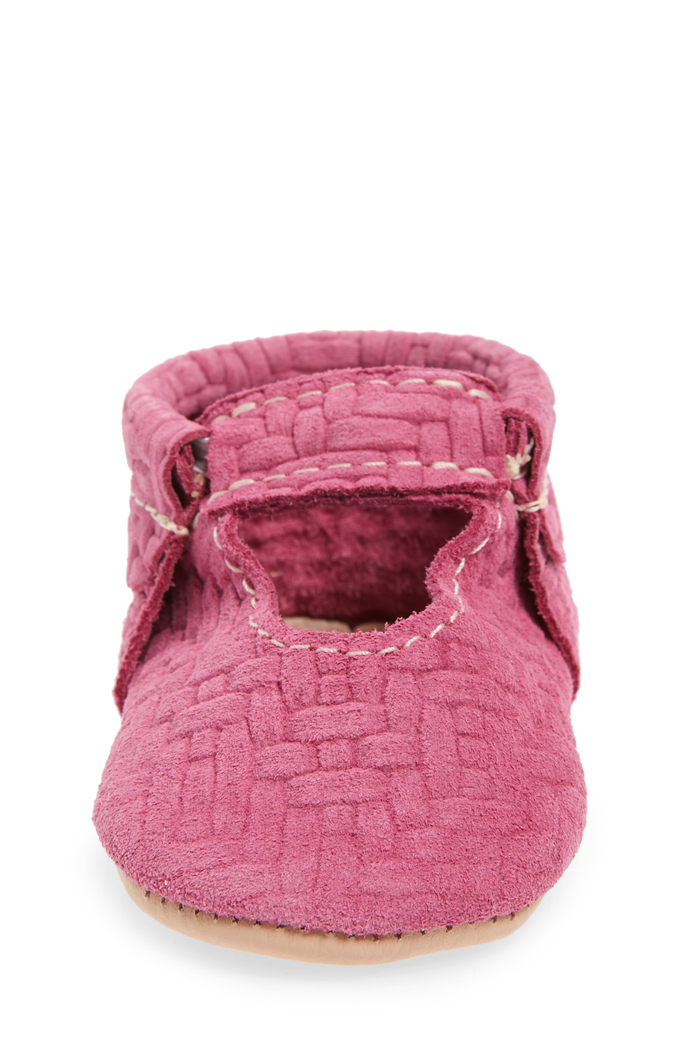 Pink Lemonade Embossed Leather Crib Shoe,                             Alternate thumbnail 4, color,                             PINK/ PEACH LEATHER