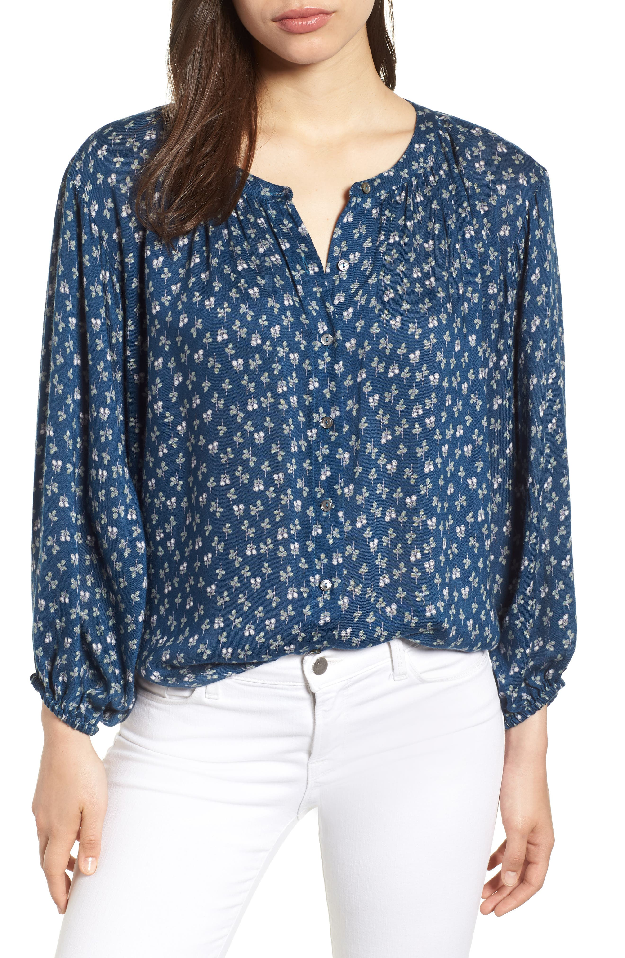Printed Gauze Peasant Blouse,                         Main,                         color, BLUE SPRUCE