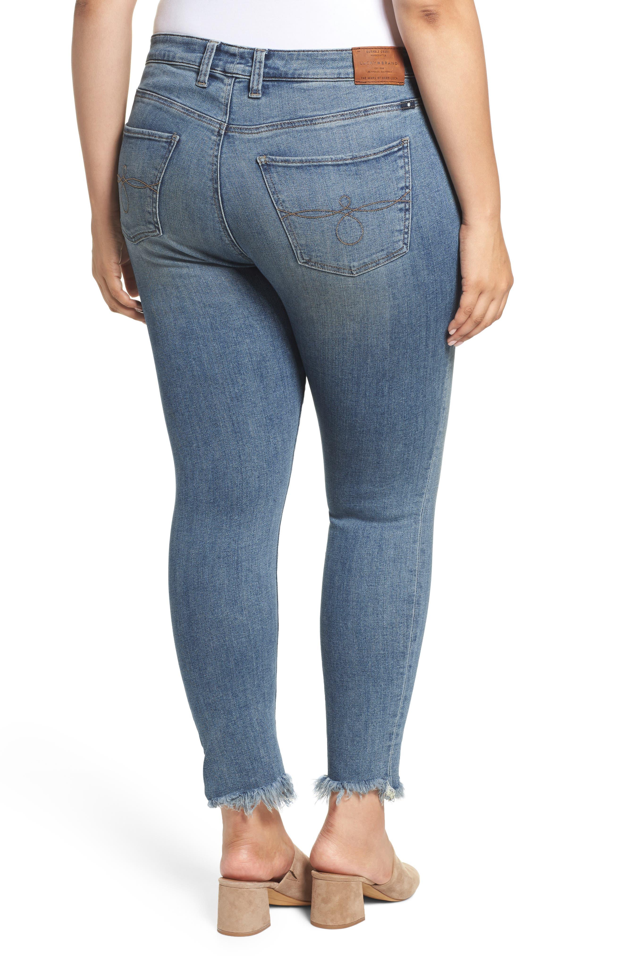 LUCKY BRAND,                             Ginger Fringed Hem Skinny Jeans,                             Alternate thumbnail 2, color,                             400