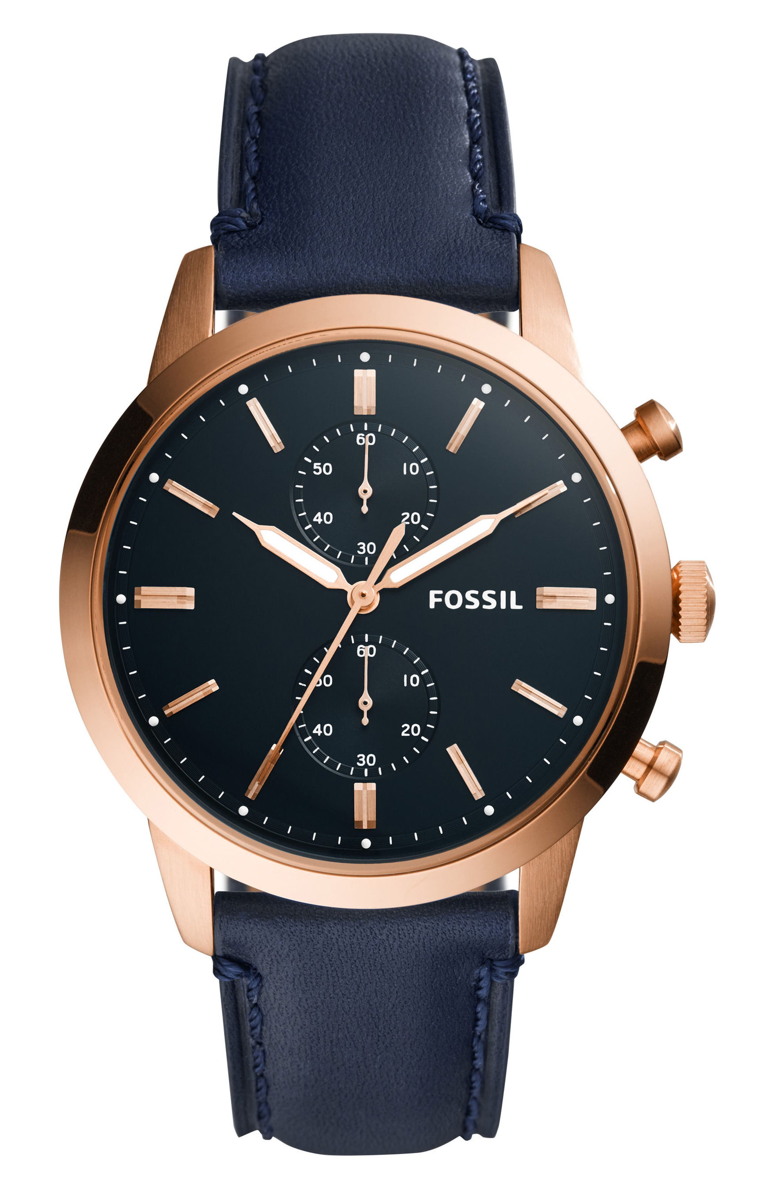 Townsman Chronograph Leather Strap Watch, 44mm,                             Main thumbnail 1, color,                             BLUE/ BLUE/ ROSE GOLD