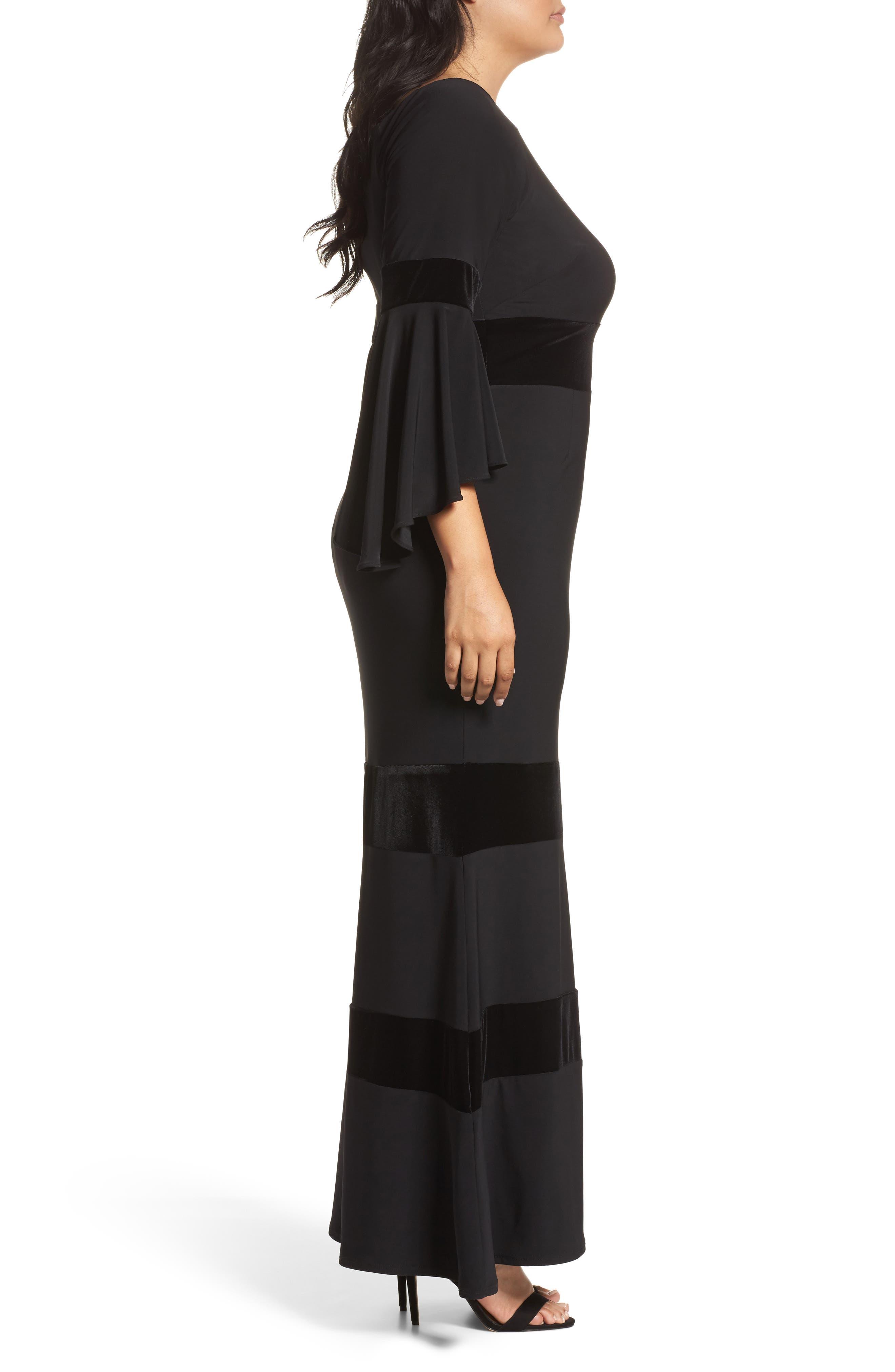 Velvet Trim Maxi Dress,                             Alternate thumbnail 3, color,                             001