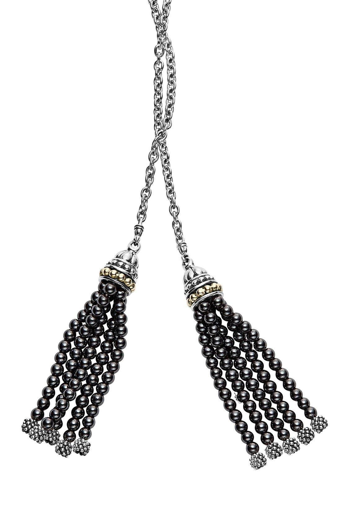 'Caviar Icon' Lariat Necklace,                             Alternate thumbnail 3, color,                             001