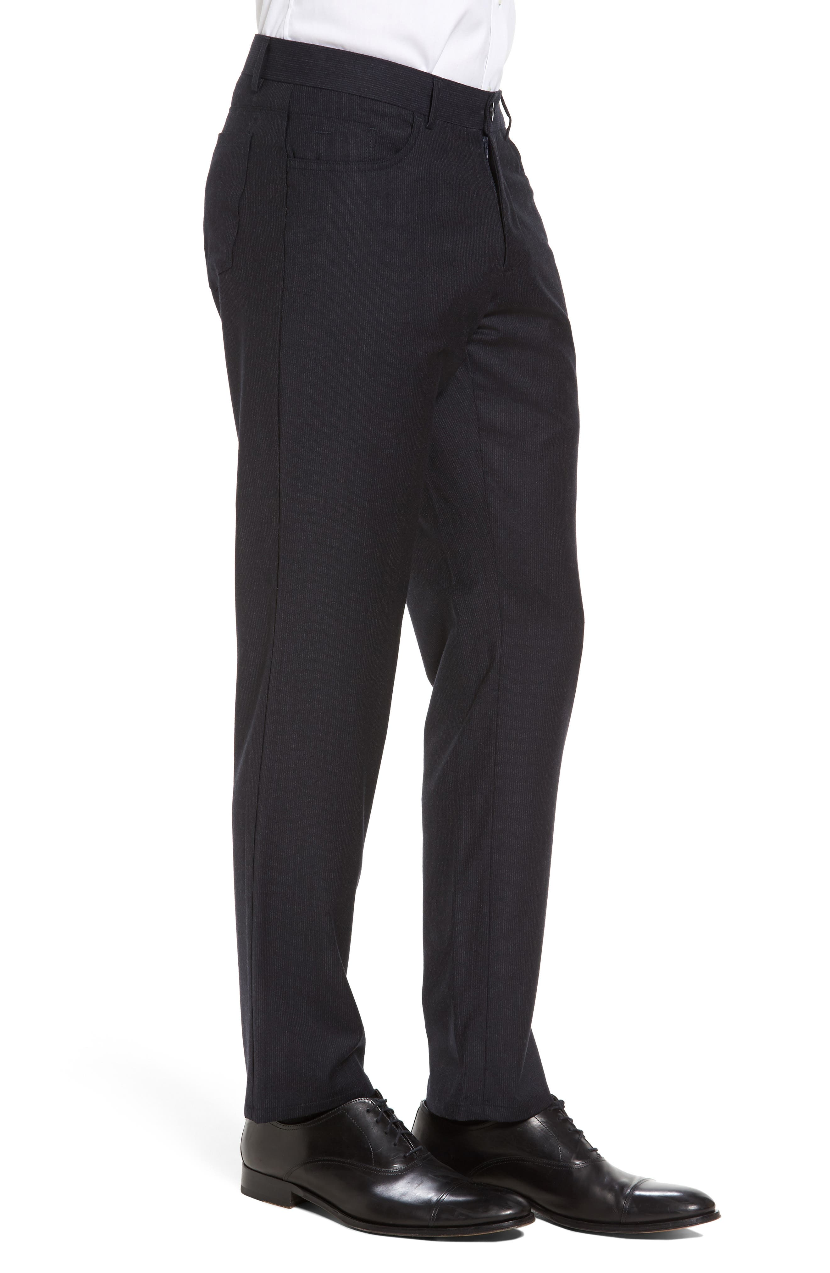 Flat Front Stripe Stretch Wool Trousers,                             Alternate thumbnail 6, color,