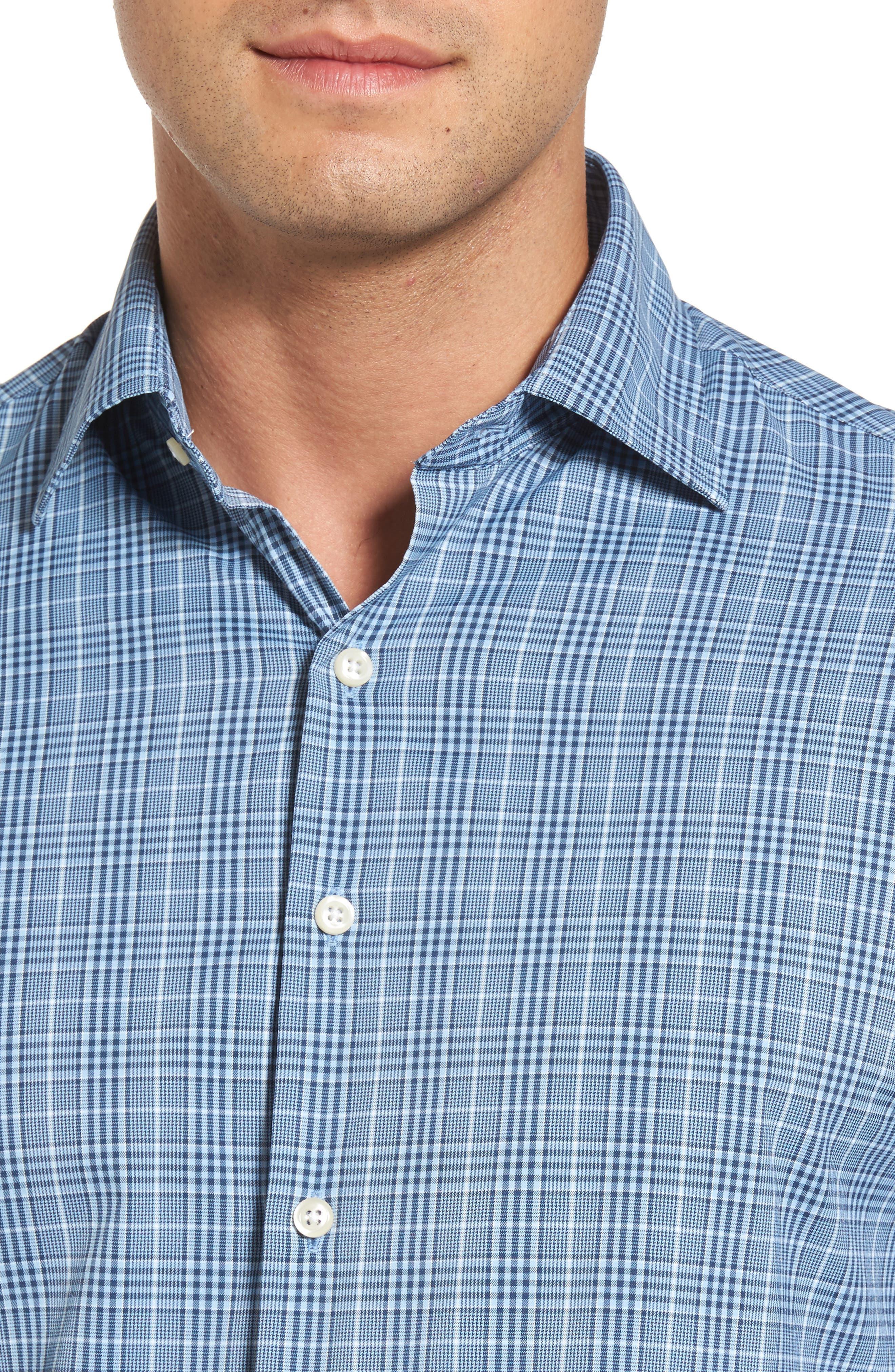 Honeycomb Regular Fit Glen Plaid Performance Sport Shirt,                             Alternate thumbnail 4, color,                             402