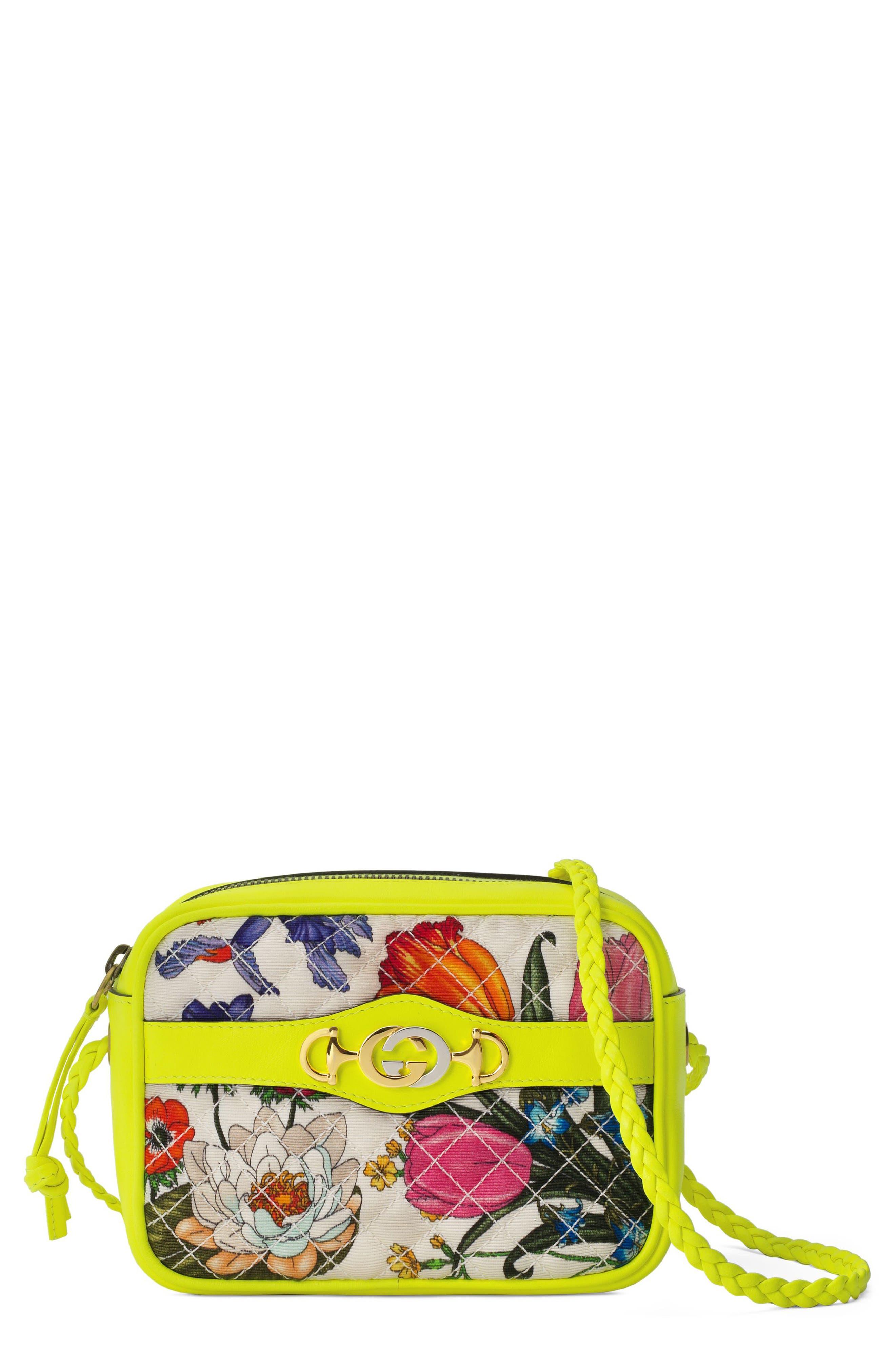 GUCCI,                             Flora Print Mini Crossbody Bag,                             Main thumbnail 1, color,                             705