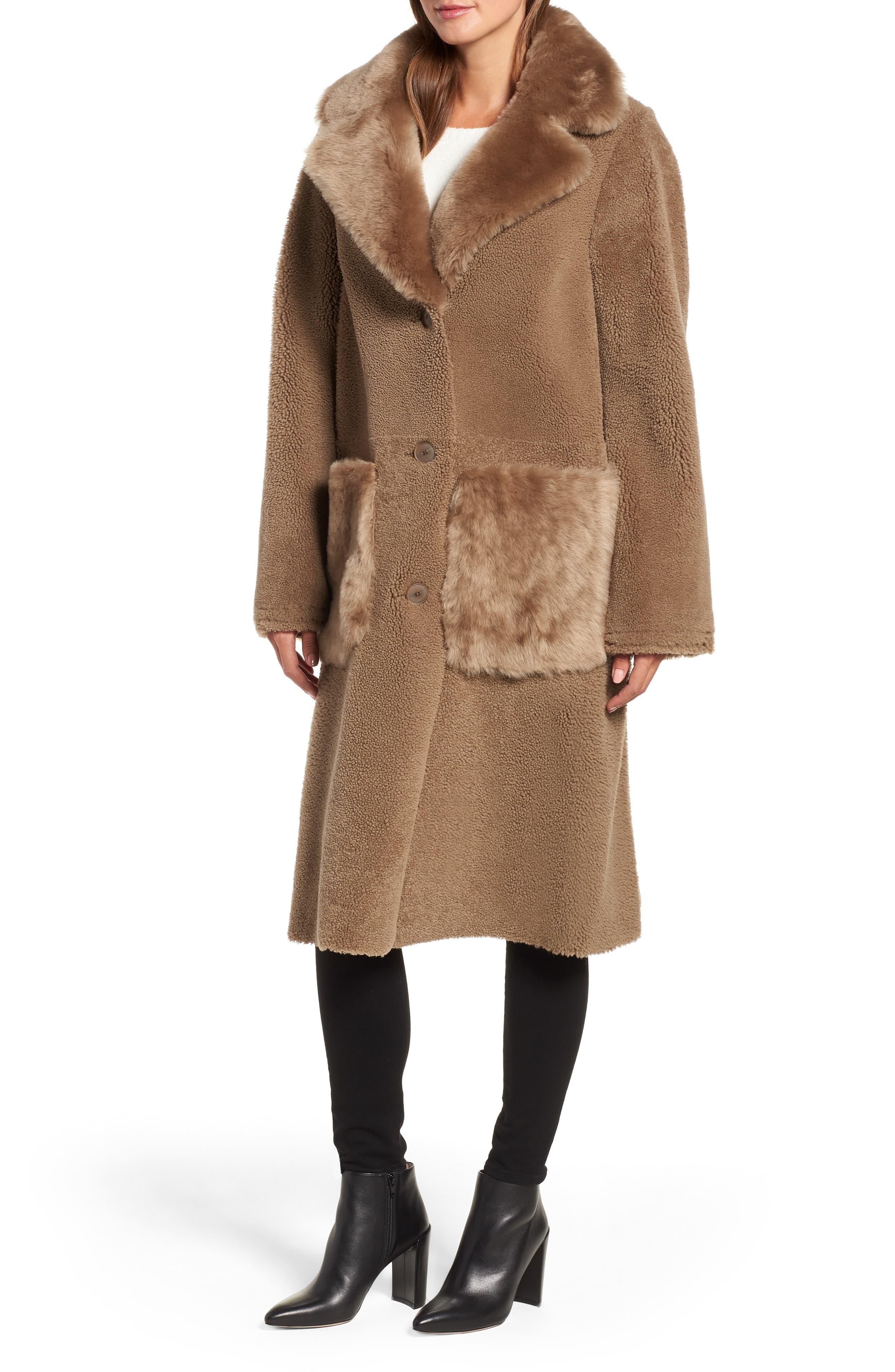 HISO,                             Genuine Merino Shearling Coat,                             Alternate thumbnail 4, color,                             250