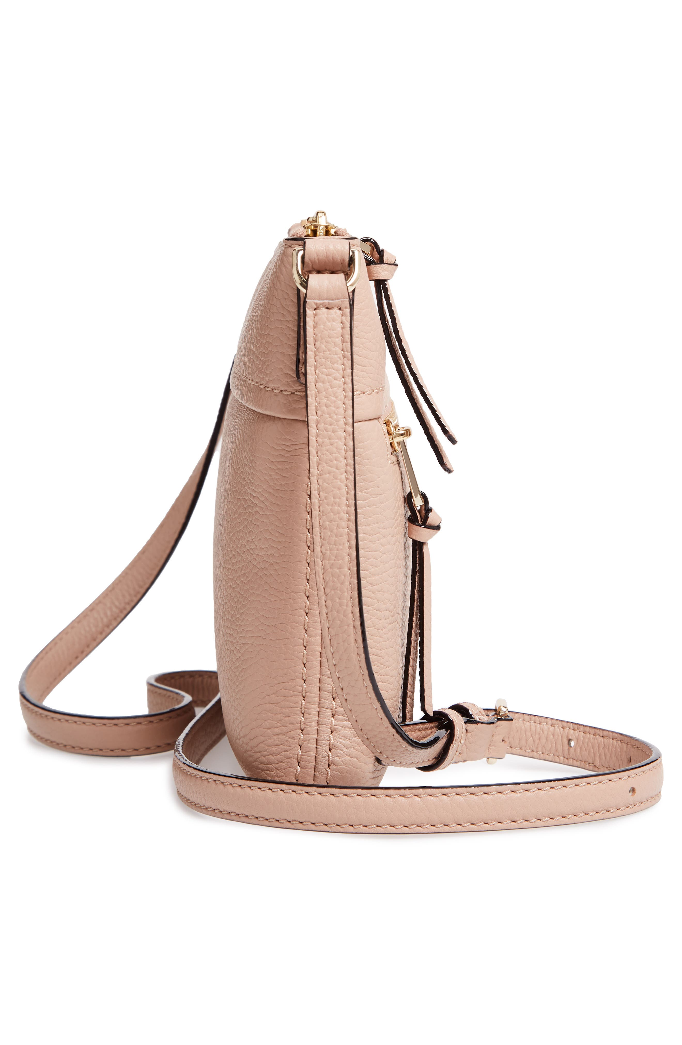 jackson street - gabriele leather crossbody bag,                             Alternate thumbnail 5, color,                             GINGER TEA
