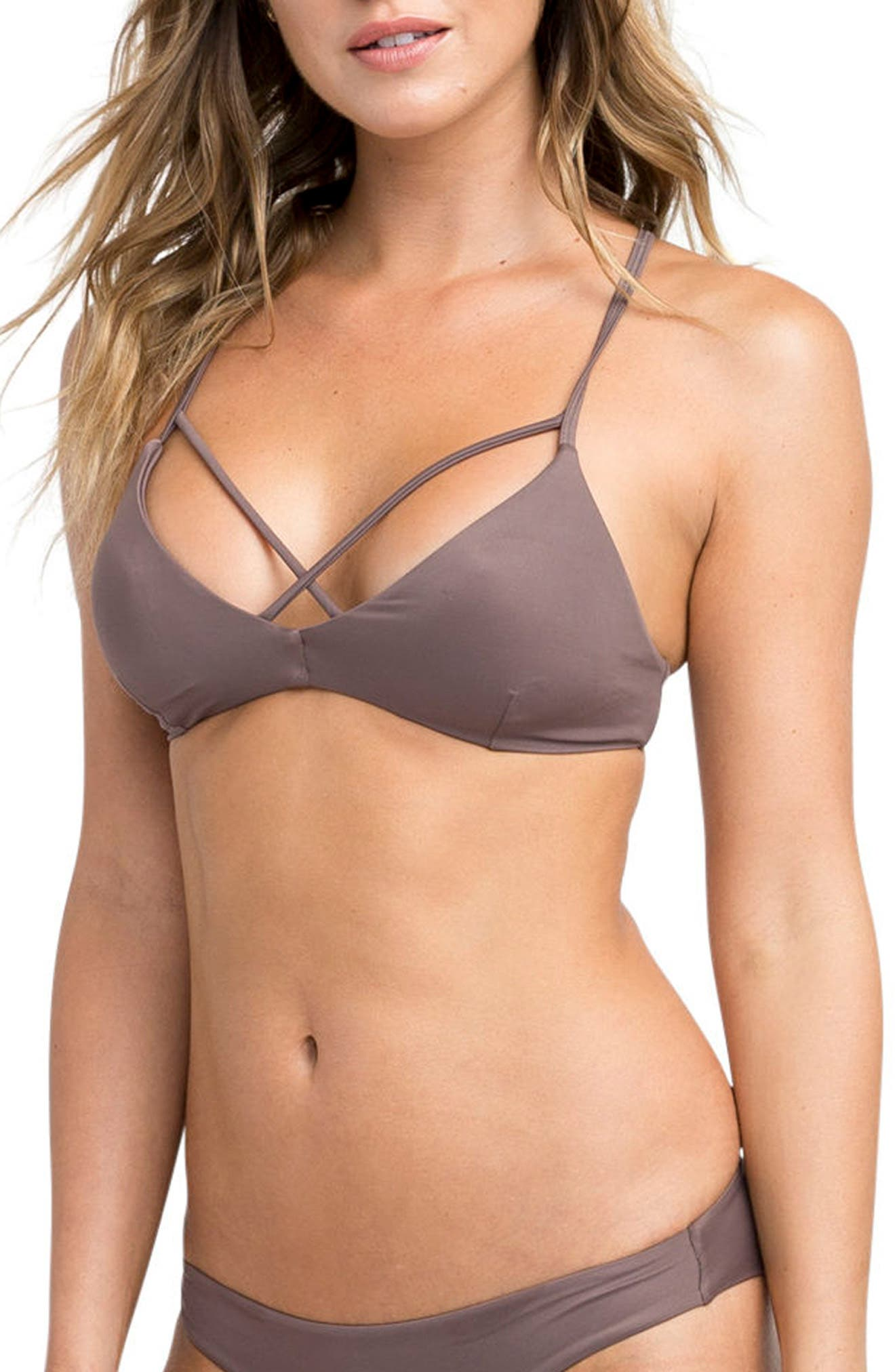 Solid Bralette Criscross Bikini Top,                             Alternate thumbnail 3, color,                             500