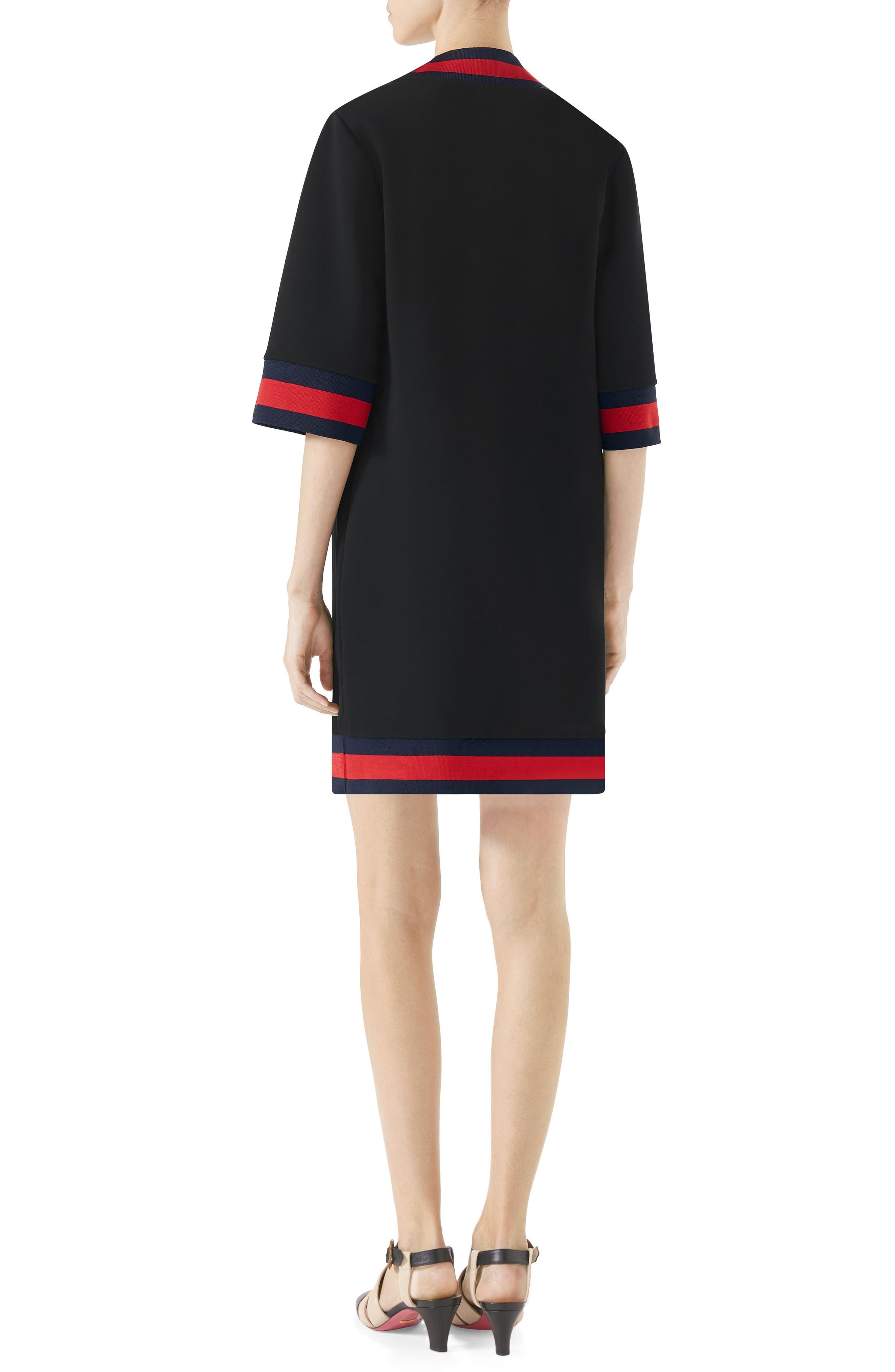 Stripe Trim Shift Dress,                             Alternate thumbnail 2, color,                             BLACK
