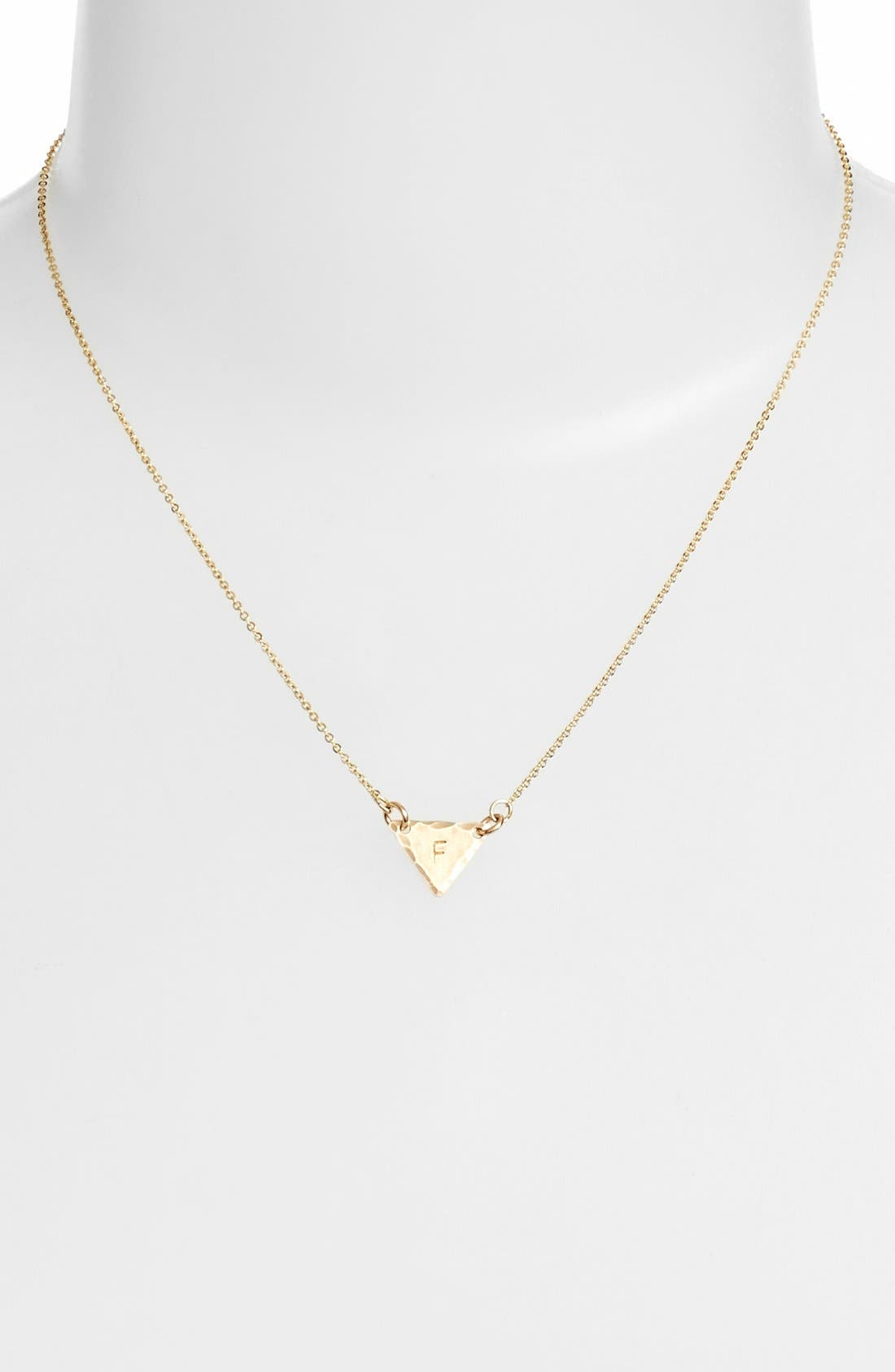 14k-Gold Fill Initial Triangle Necklace,                             Alternate thumbnail 32, color,