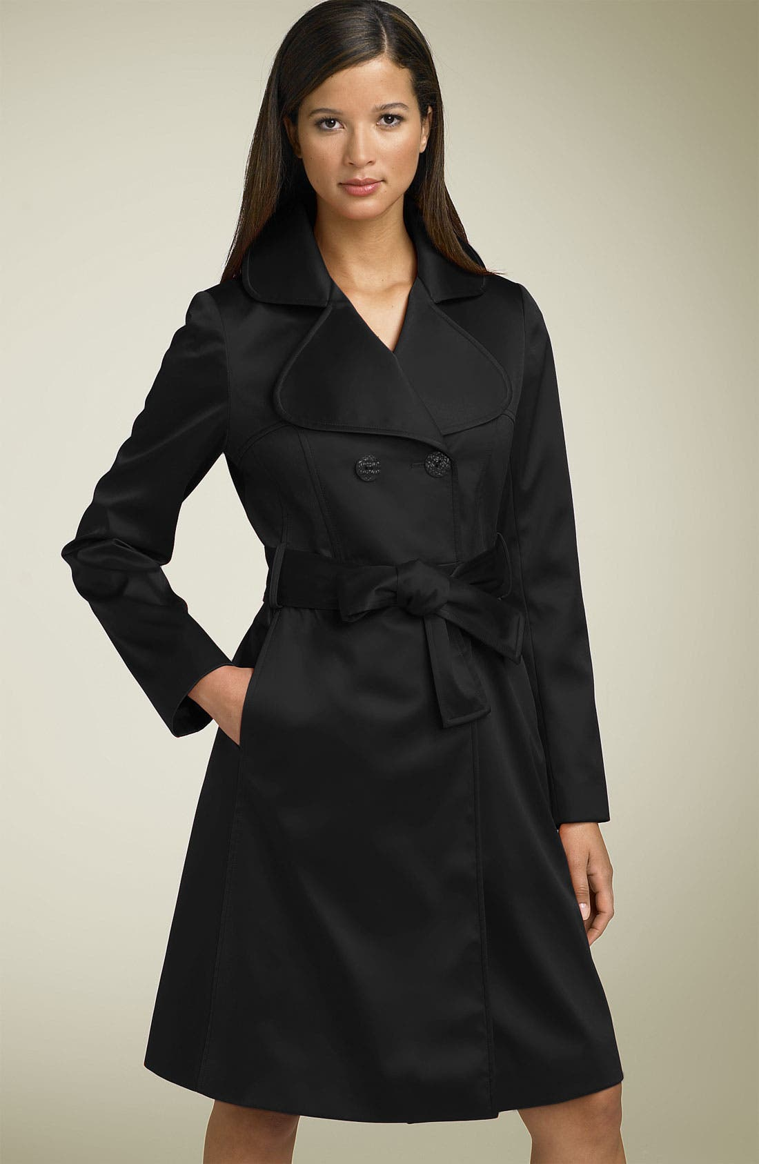 'Gia' Belted Satin Trench,                             Main thumbnail 1, color,
