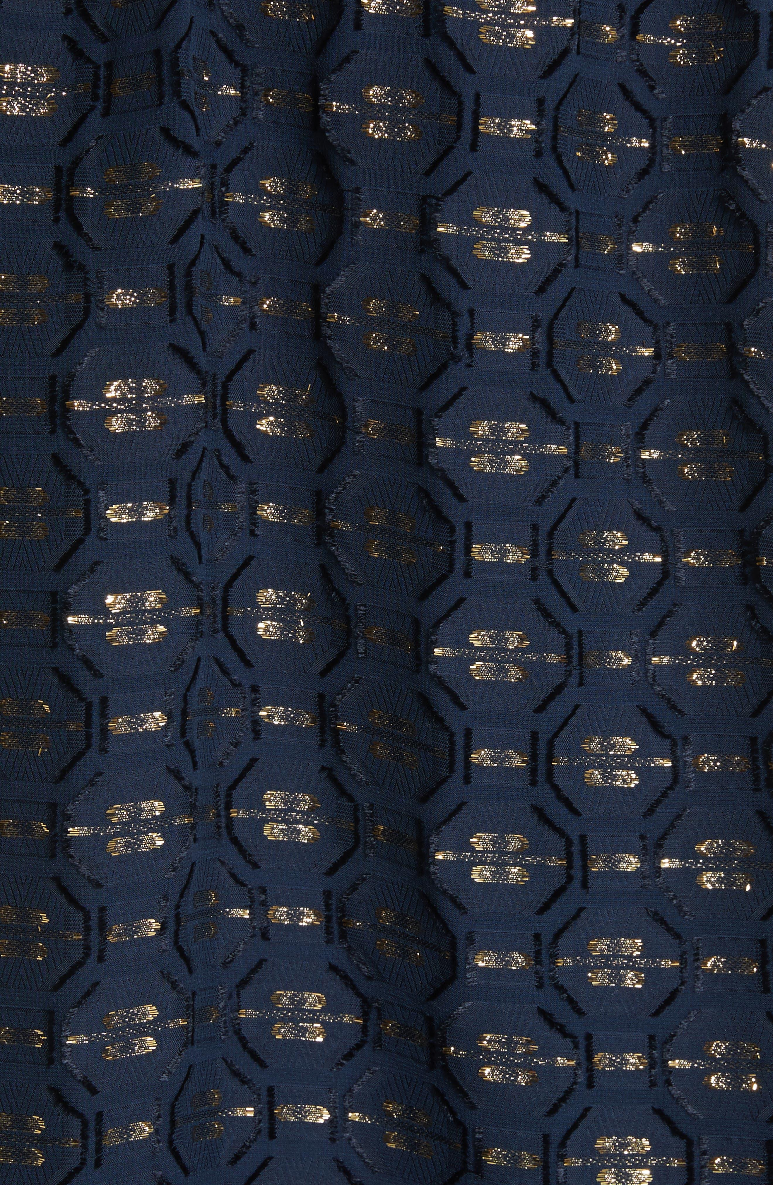 TORY BURCH,                             Jasmine Silk Blend Dress,                             Alternate thumbnail 5, color,                             405