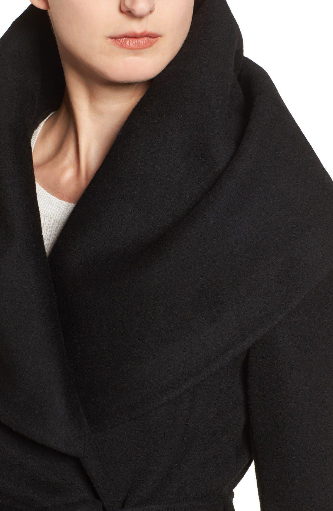 T Tahari Wool Blend Belted Wrap Coat,                             Alternate thumbnail 4, color,                             BLACK