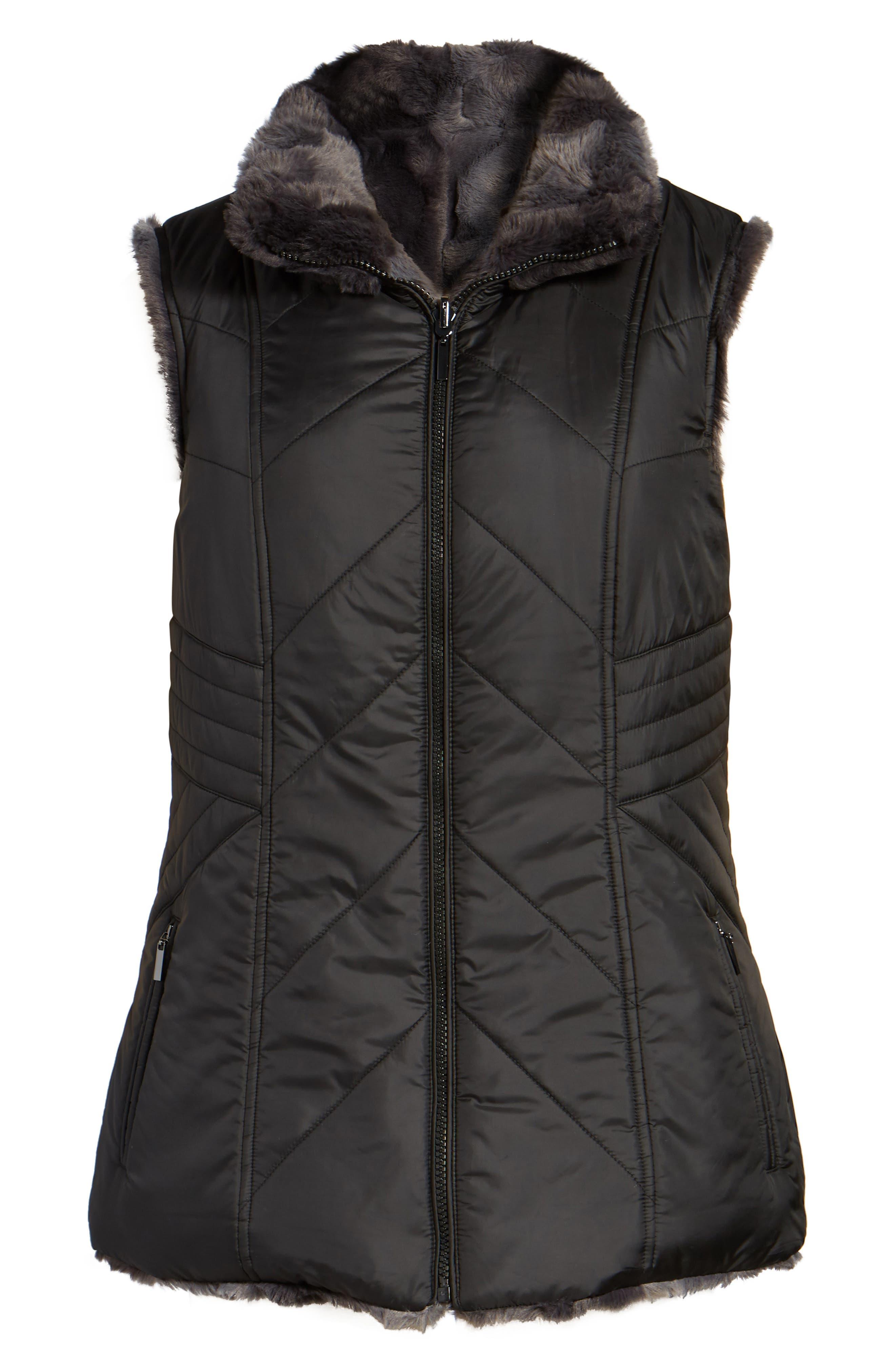 GALLERY,                             Reversible Faux Fur Vest,                             Alternate thumbnail 5, color,                             001