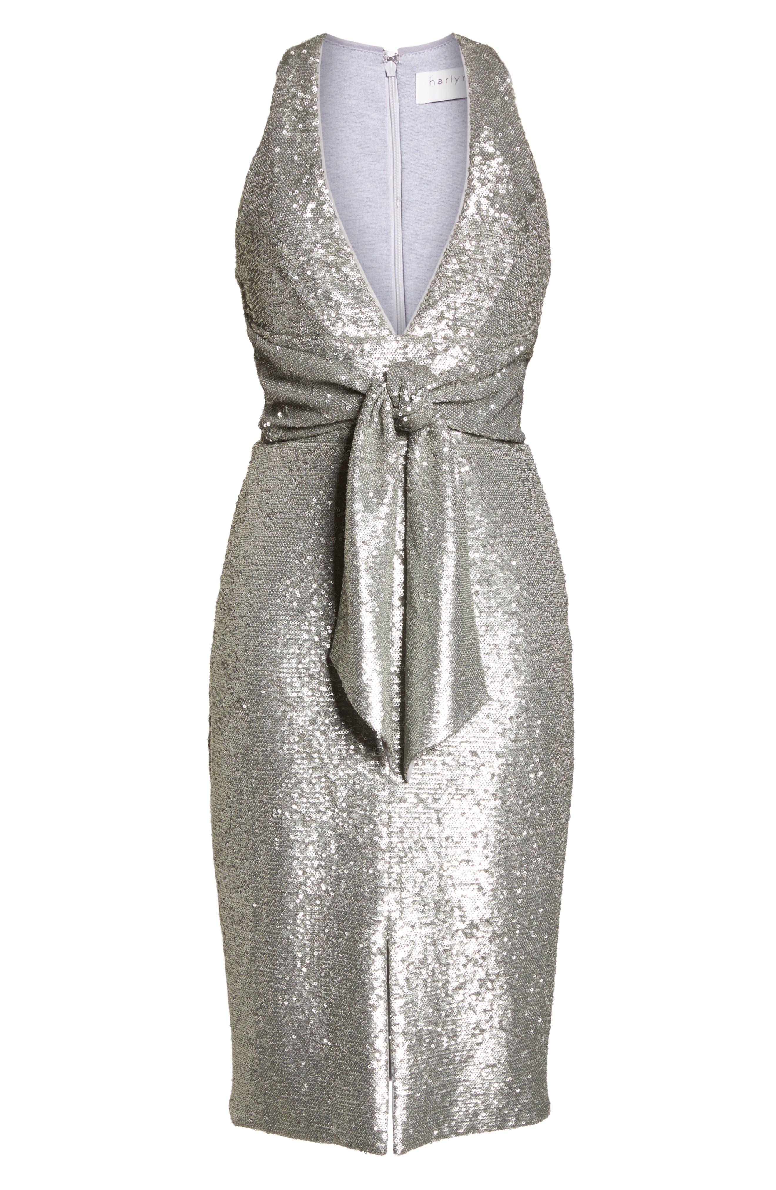 Plunge Neck Sequin Dress,                             Alternate thumbnail 7, color,                             MATTE SILVER