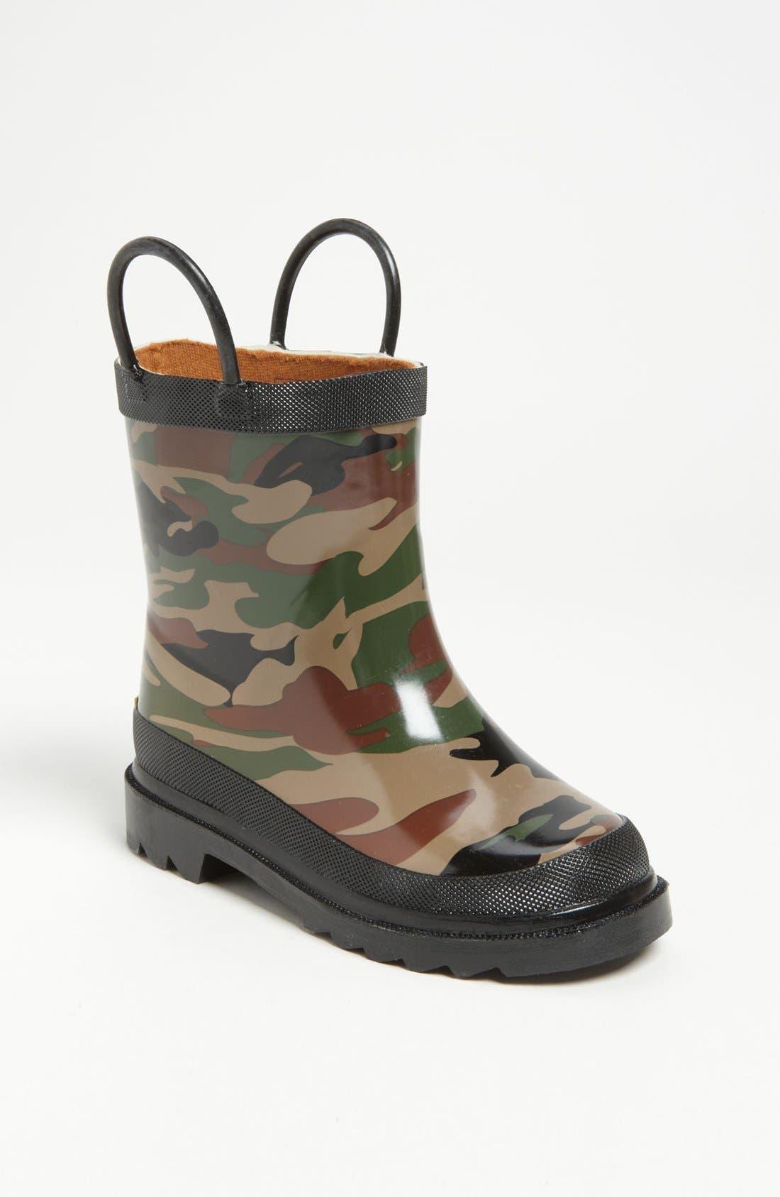 Camo Waterproof Rain Boot,                             Main thumbnail 1, color,                             CAMO