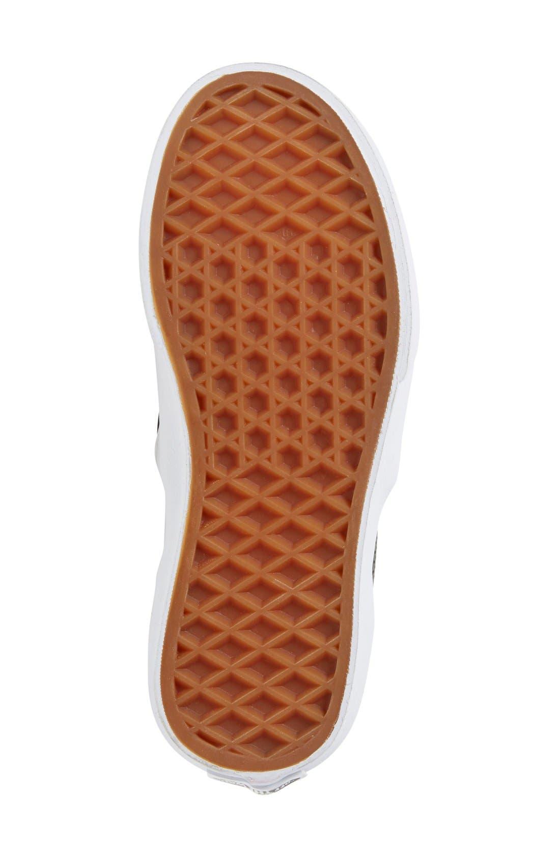'Classic' Slip-On Sneaker,                             Alternate thumbnail 4, color,                             BLACK LEATHER