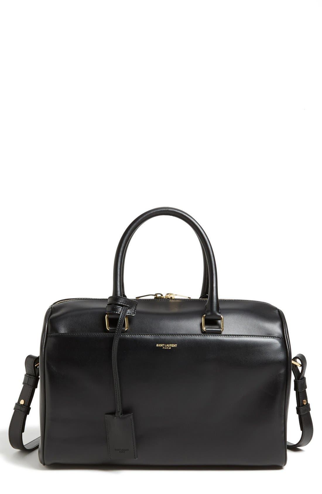 'Medium Duffle 6' Leather Satchel, Main, color, 001
