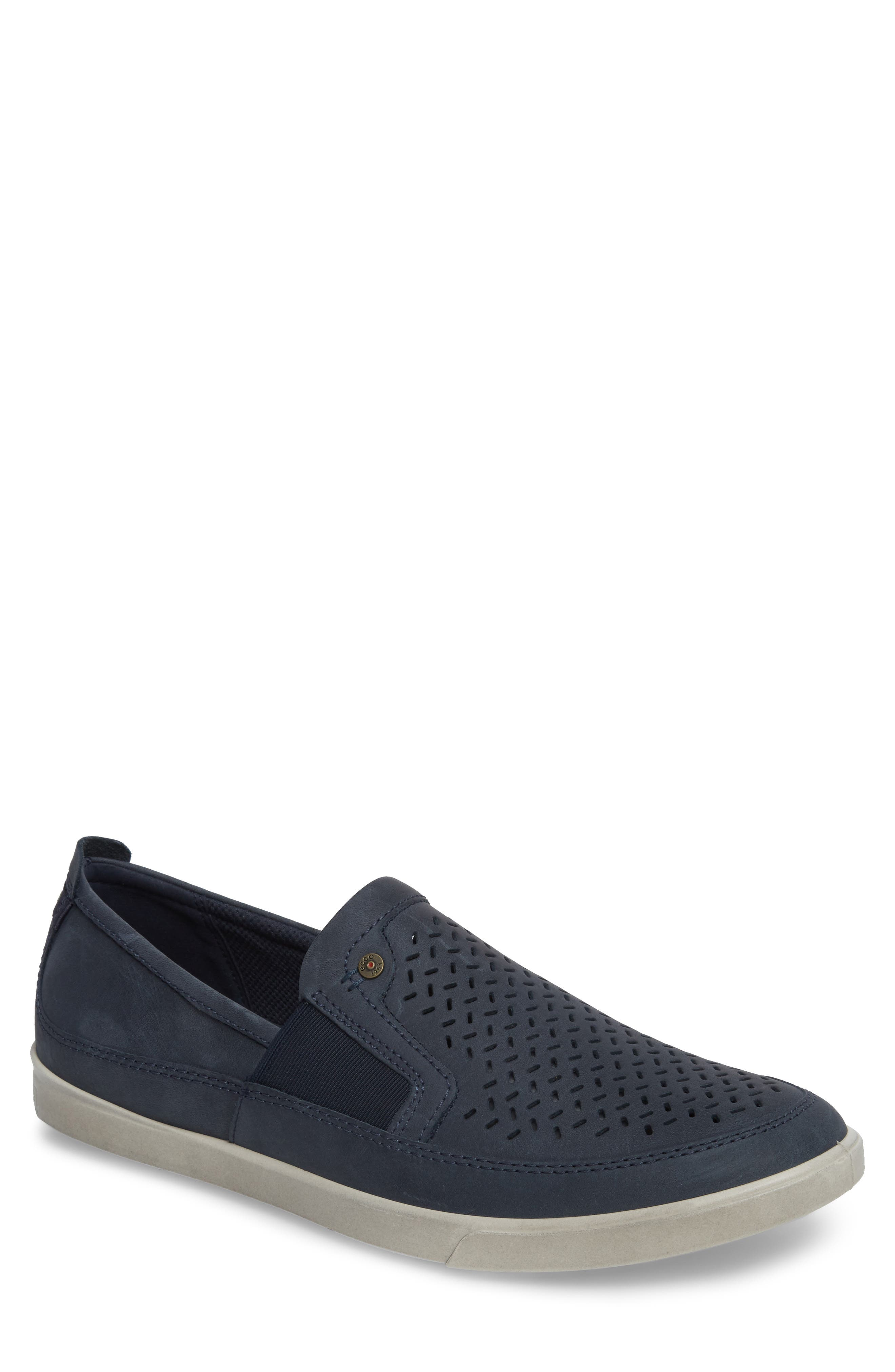 'Collin' Perforated Slip On Sneaker,                         Main,                         color, MARINE LEATHER