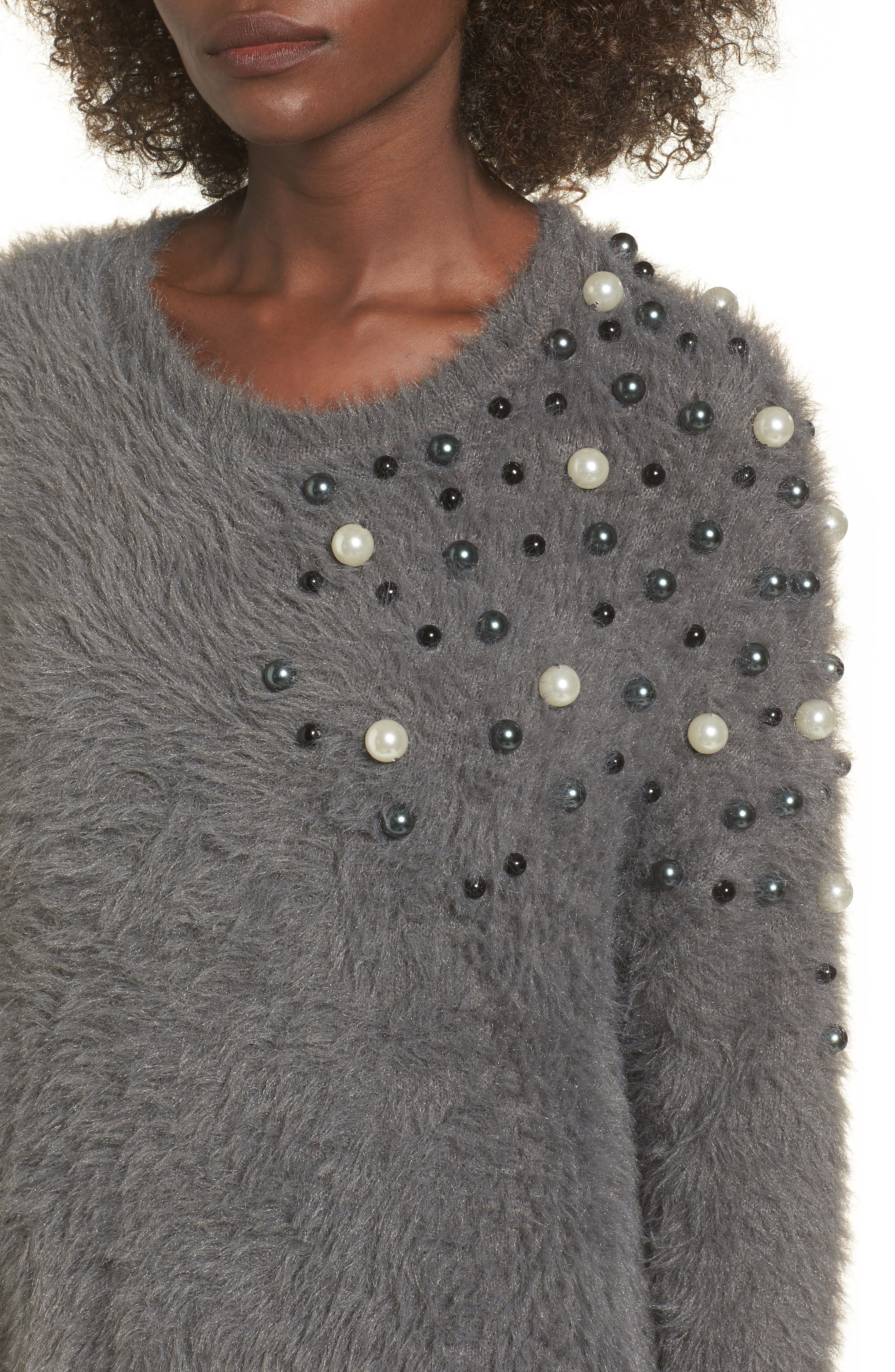 Embellished Faux Fur Sweater,                             Alternate thumbnail 4, color,                             021