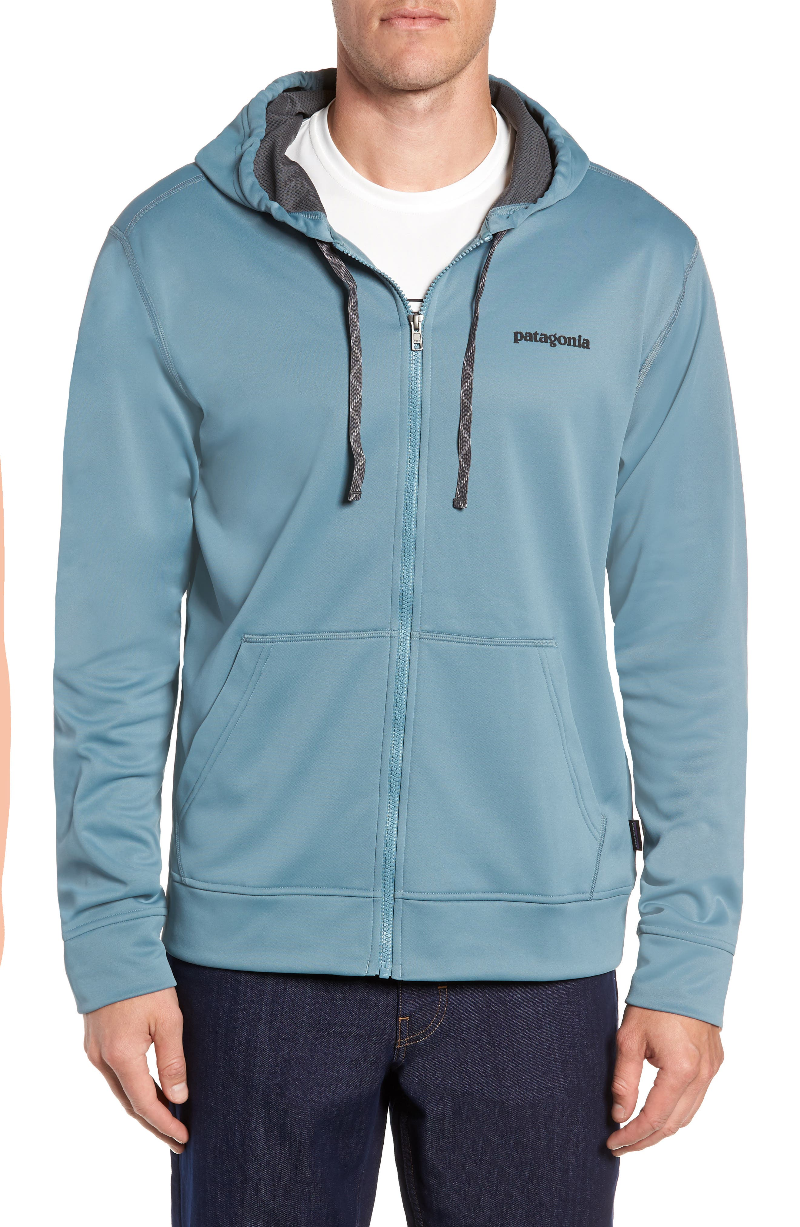 Fitz Roy Trout PolyCycle<sup>®</sup> Full-Zip Hoodie,                             Alternate thumbnail 4, color,                             SHADOW BLUE