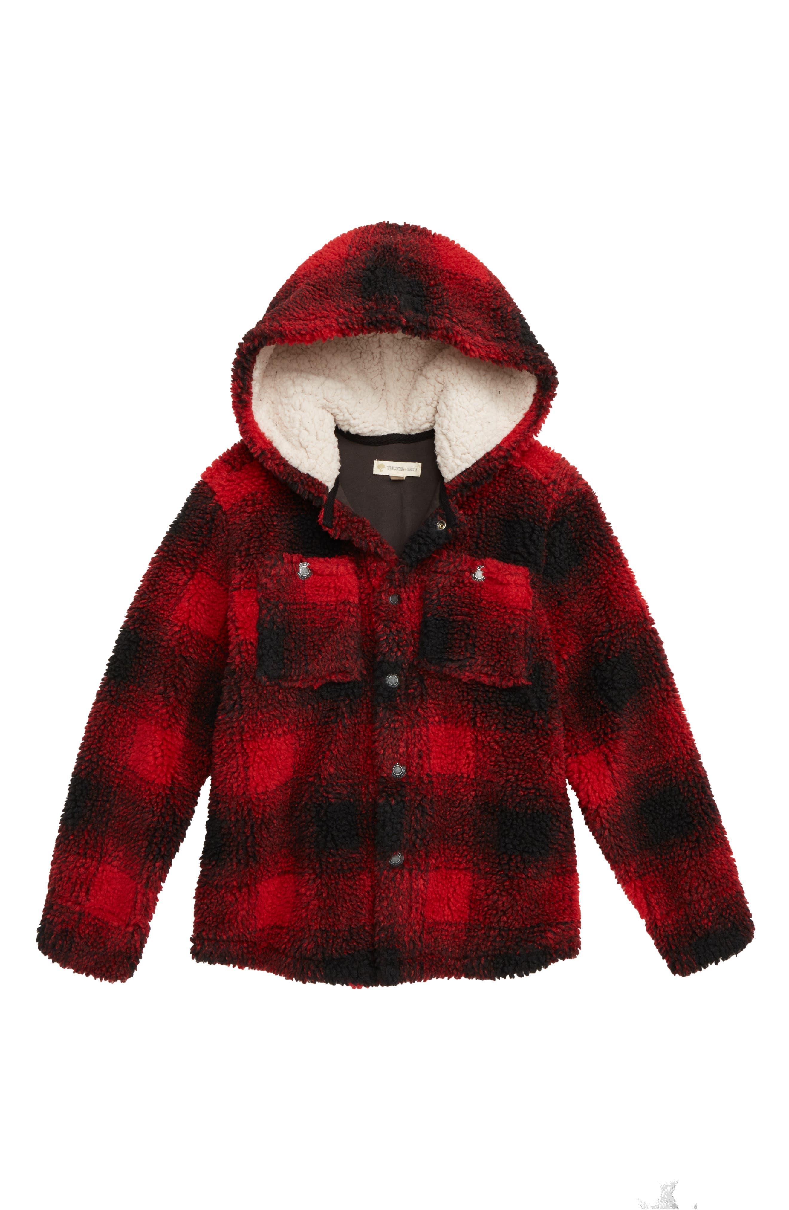 Plaid Fleece Hooded Jacket,                         Main,                         color, RED RIBBON- BLACK SHADOW PLAID