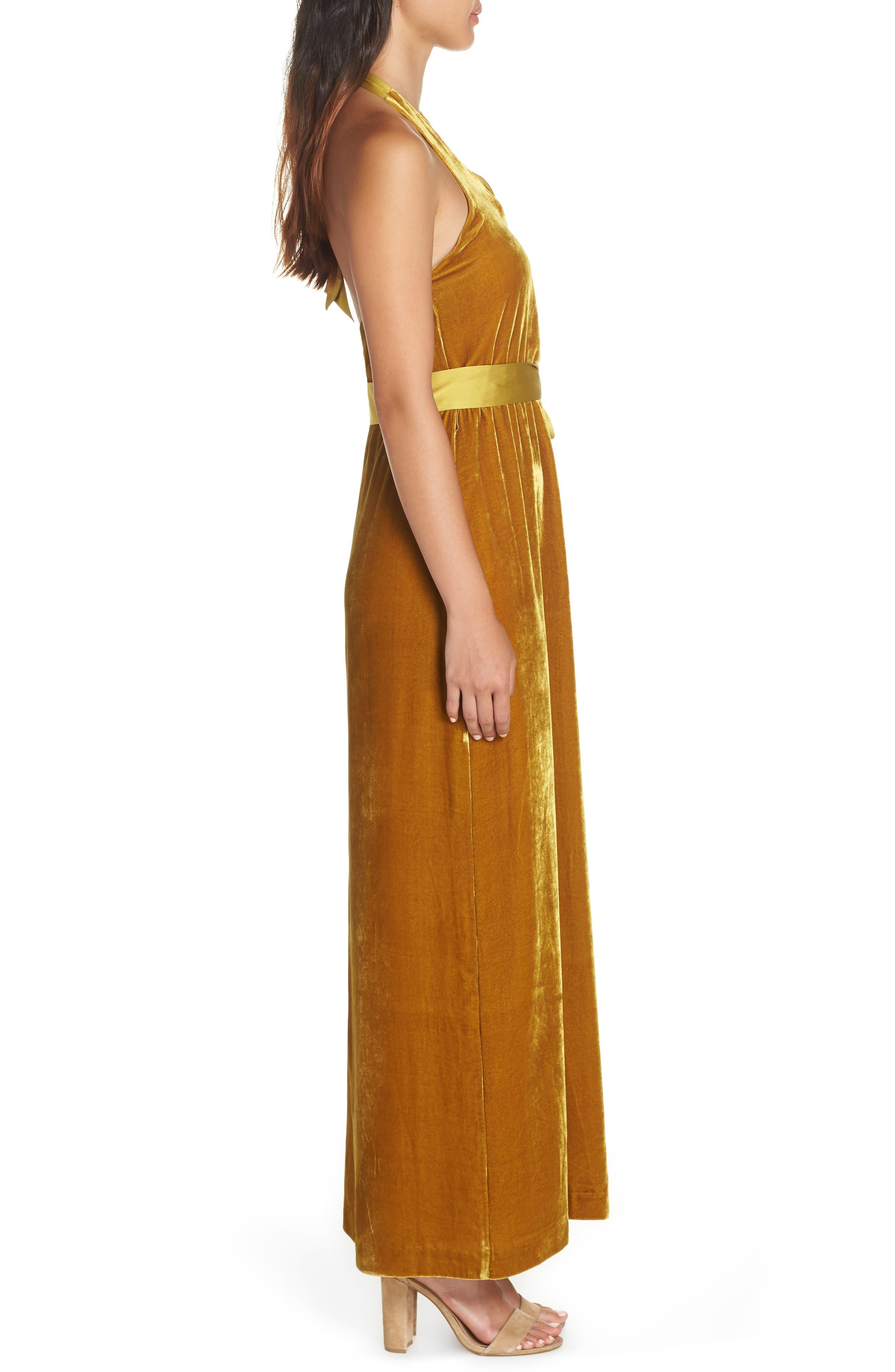 Velvet Halter Maxi Dress,                             Alternate thumbnail 3, color,                             720
