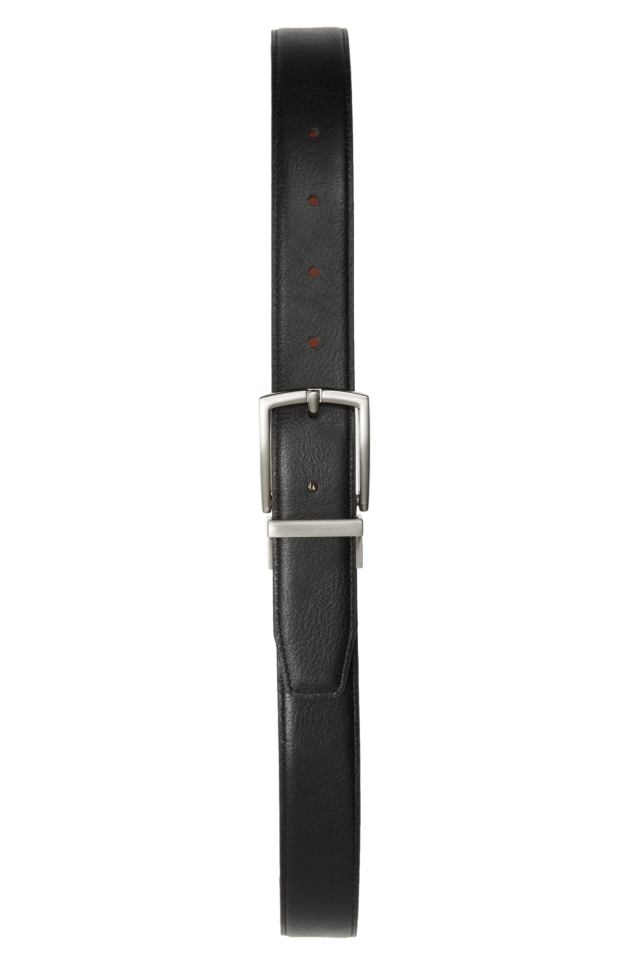 Reversible Leather Belt,                             Alternate thumbnail 2, color,                             COGNAC BLACK