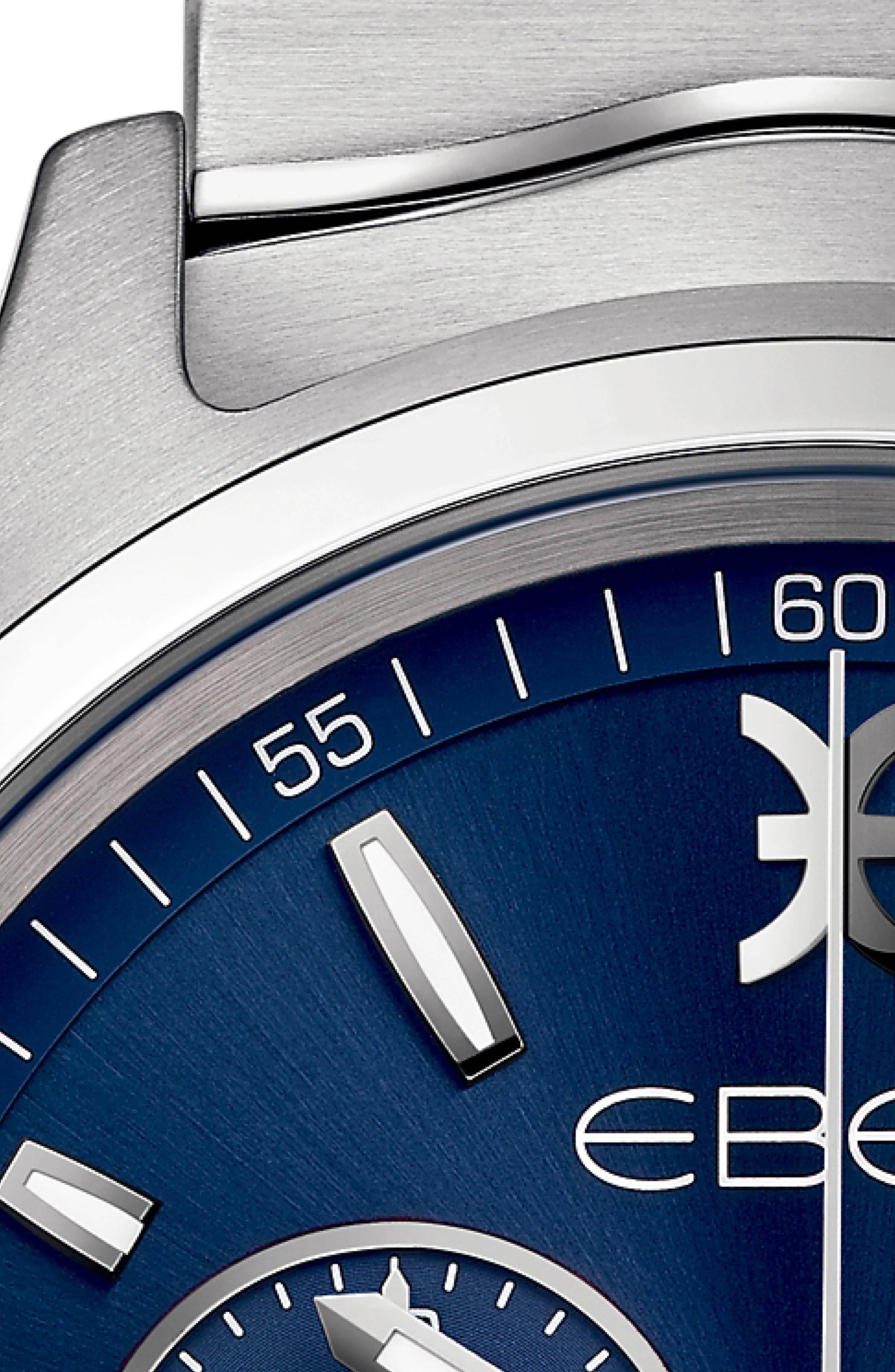 Wave Chronograph Bracelet Watch, 42mm,                             Alternate thumbnail 4, color,                             SILVER/ BLUE/ SILVER