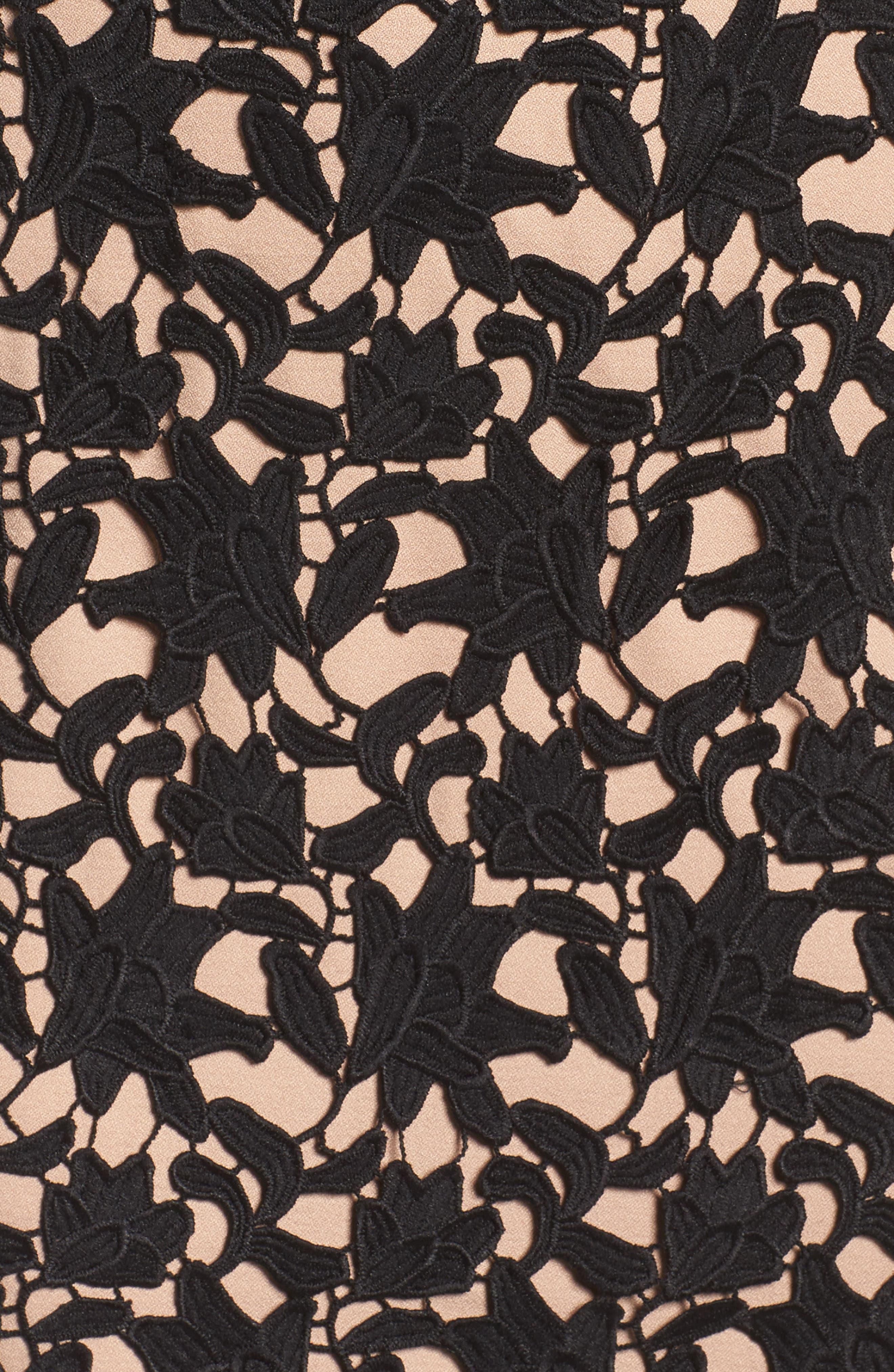 Whitney Lace Sheath Dress,                             Alternate thumbnail 5, color,                             001