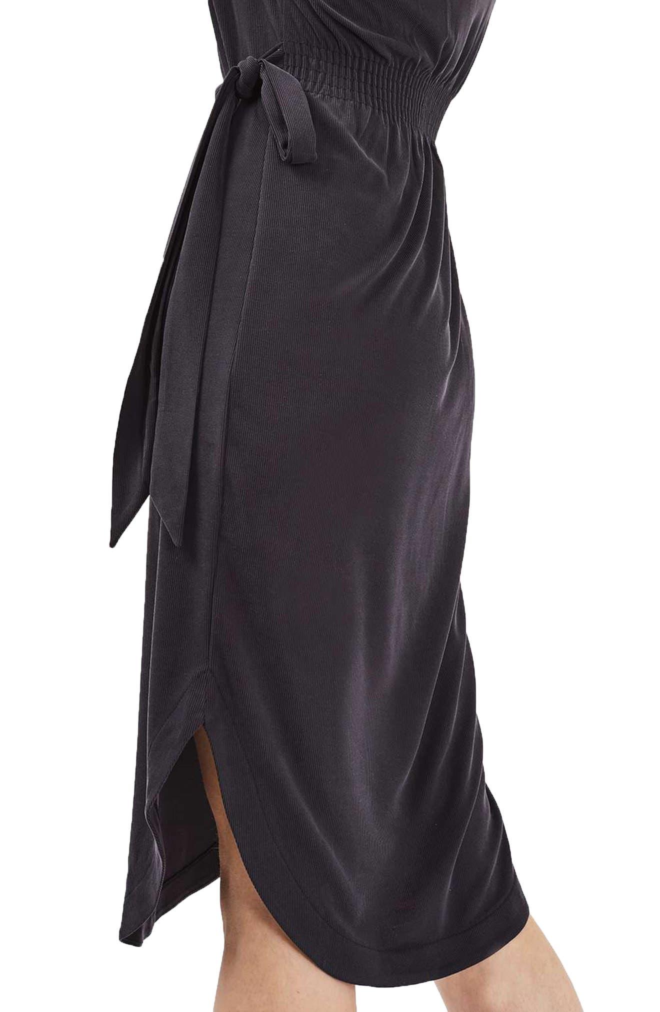 Ribbed Midi Dress,                             Alternate thumbnail 3, color,                             001