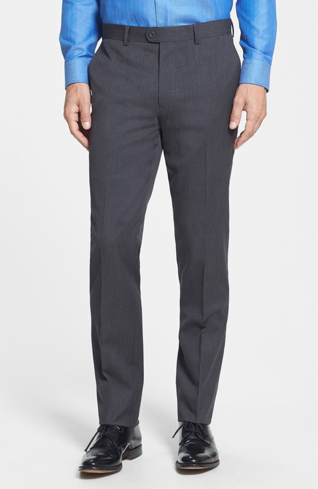 Gab Trim Fit Flat Front Pants,                             Main thumbnail 1, color,                             002
