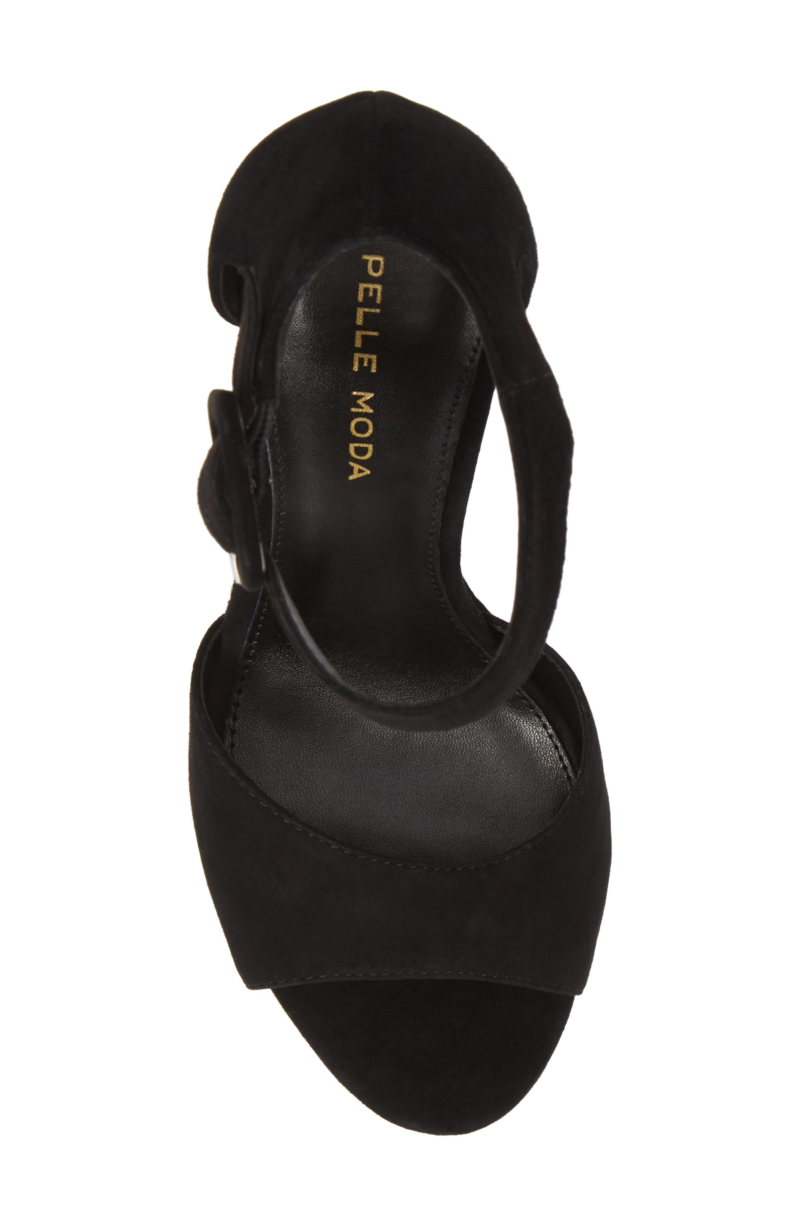 Ojai Platform Wedge Sandal,                             Alternate thumbnail 5, color,                             BLACK SUEDE