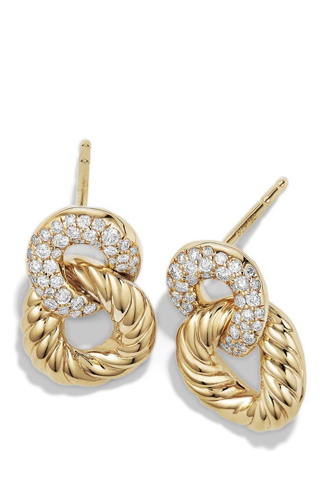 DAVID YURMAN,                             Extra-Small Curb Link Drop Earrings with Diamond in 18K Gold,                             Alternate thumbnail 3, color,                             YELLOW GOLD/ DIAMOND