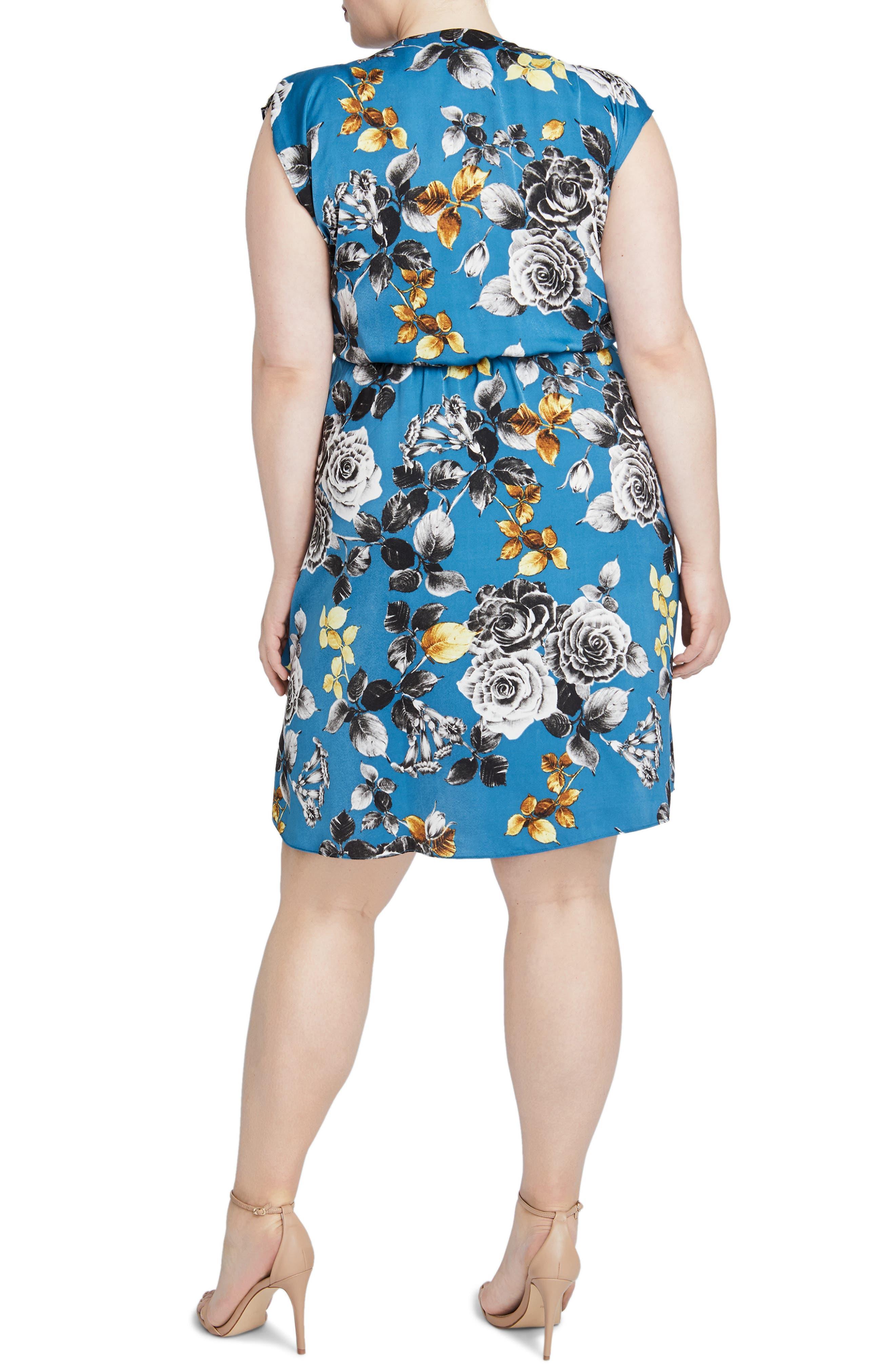 Pierce Floral Dress,                             Alternate thumbnail 2, color,                             TEAL BLUE COMBO