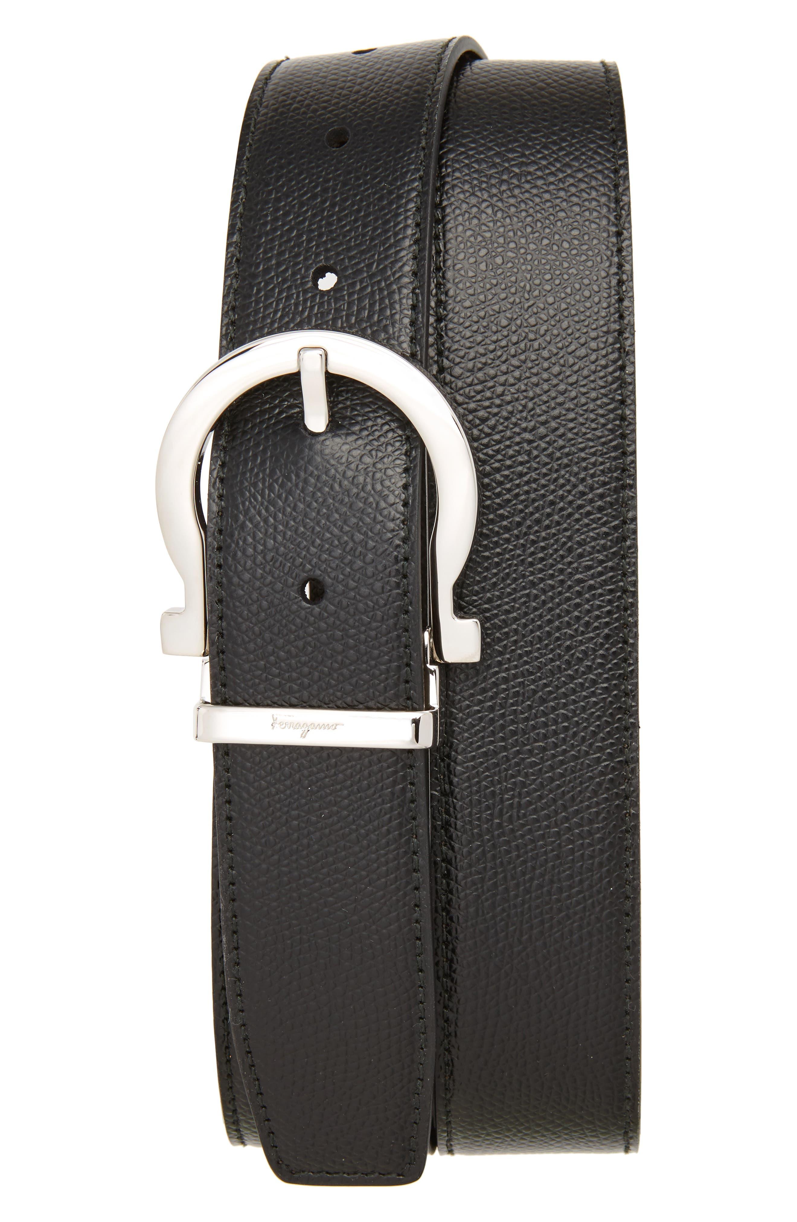 SALVATORE FERRAGAMO Reversible Leather Belt, Main, color, BLACK/ HICKORY
