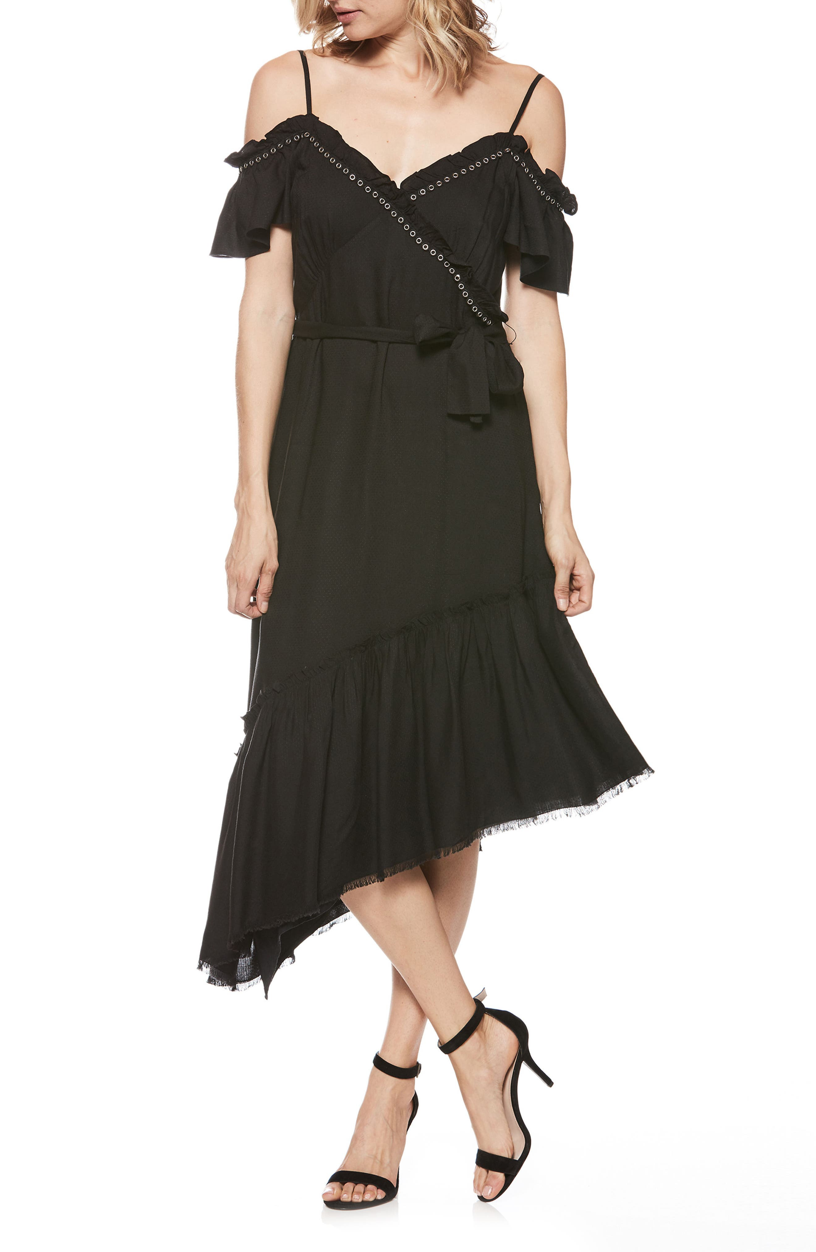 Aylin Asymmetrical Cold Shoulder Dress,                             Main thumbnail 1, color,                             BLACK