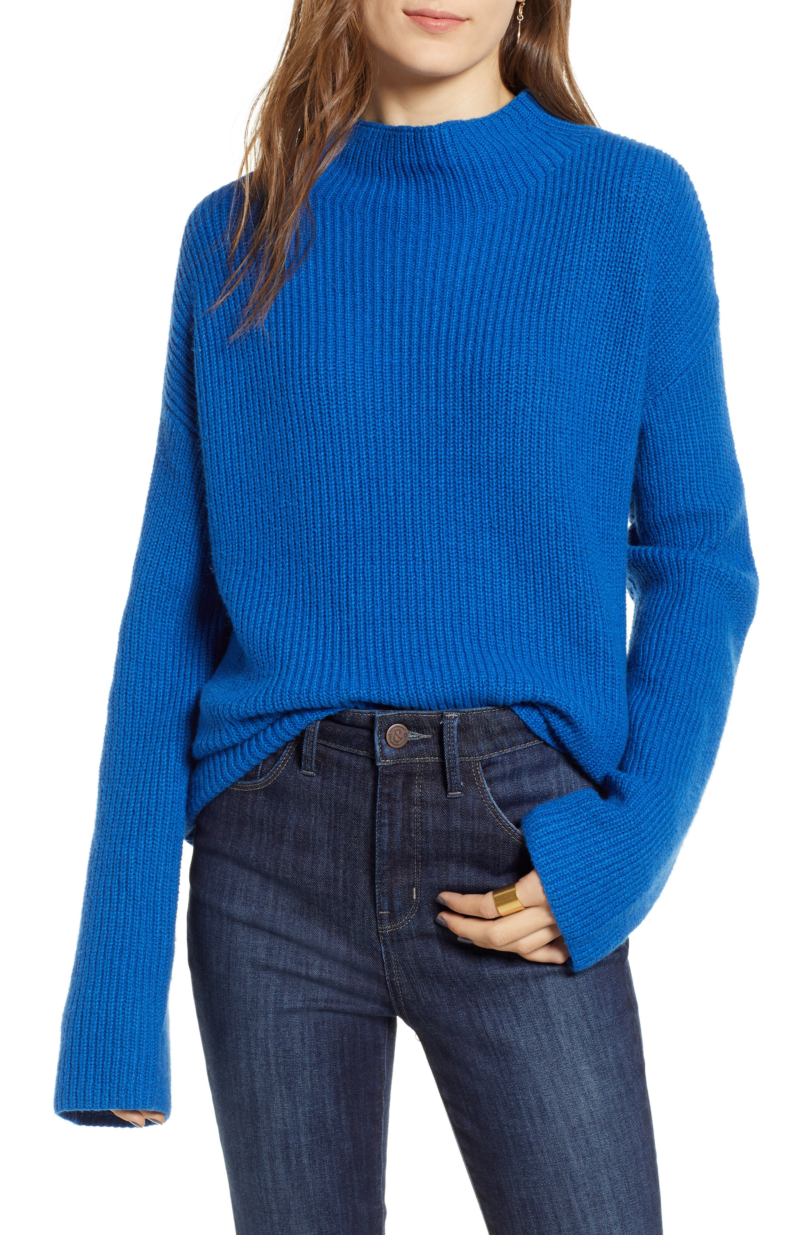 Ribbed Funnel Neck Sweater,                             Main thumbnail 1, color,                             BLUE CLASSICS