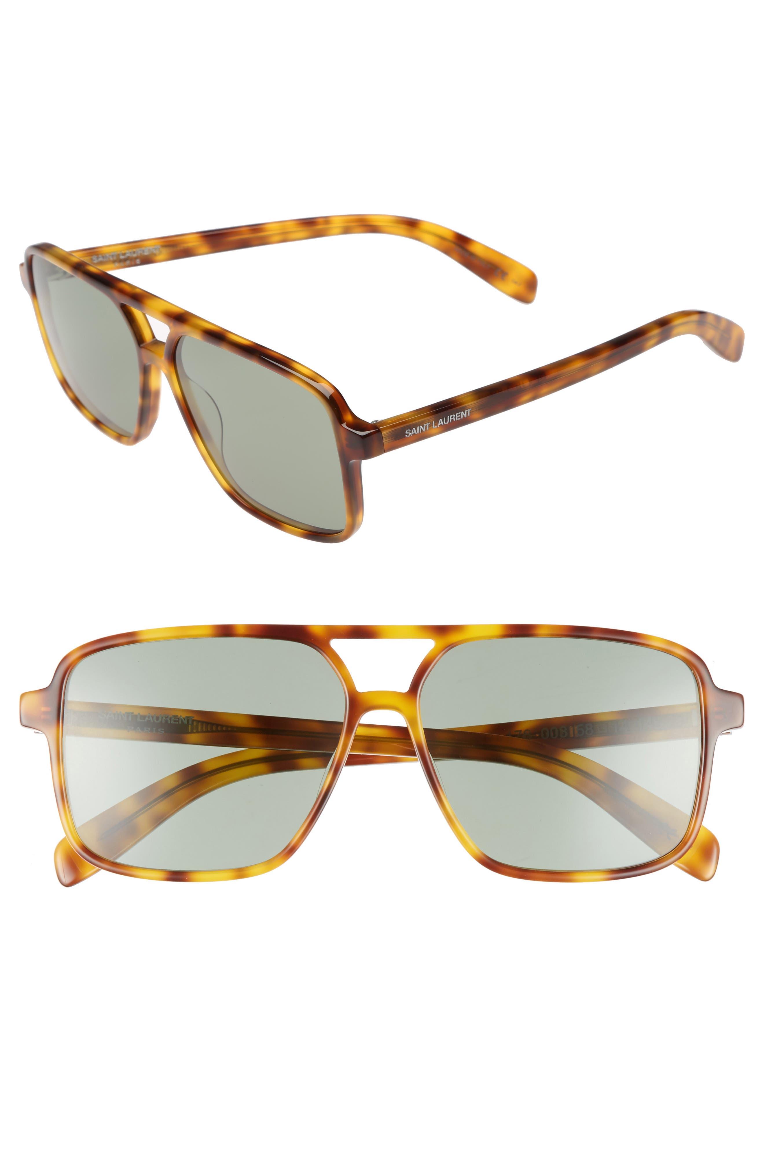 58mm Square Navigator Sunglasses,                             Main thumbnail 1, color,                             HAVANA/ HAVANA/ GREEN