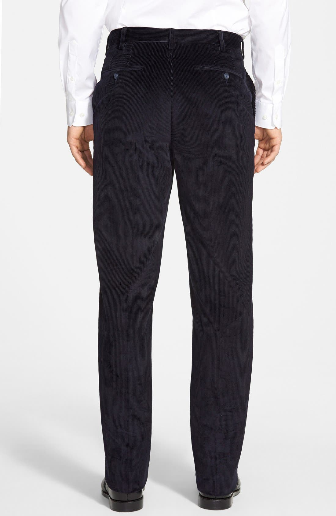 Flat Front Corduroy Trousers,                             Alternate thumbnail 3, color,                             NAVY
