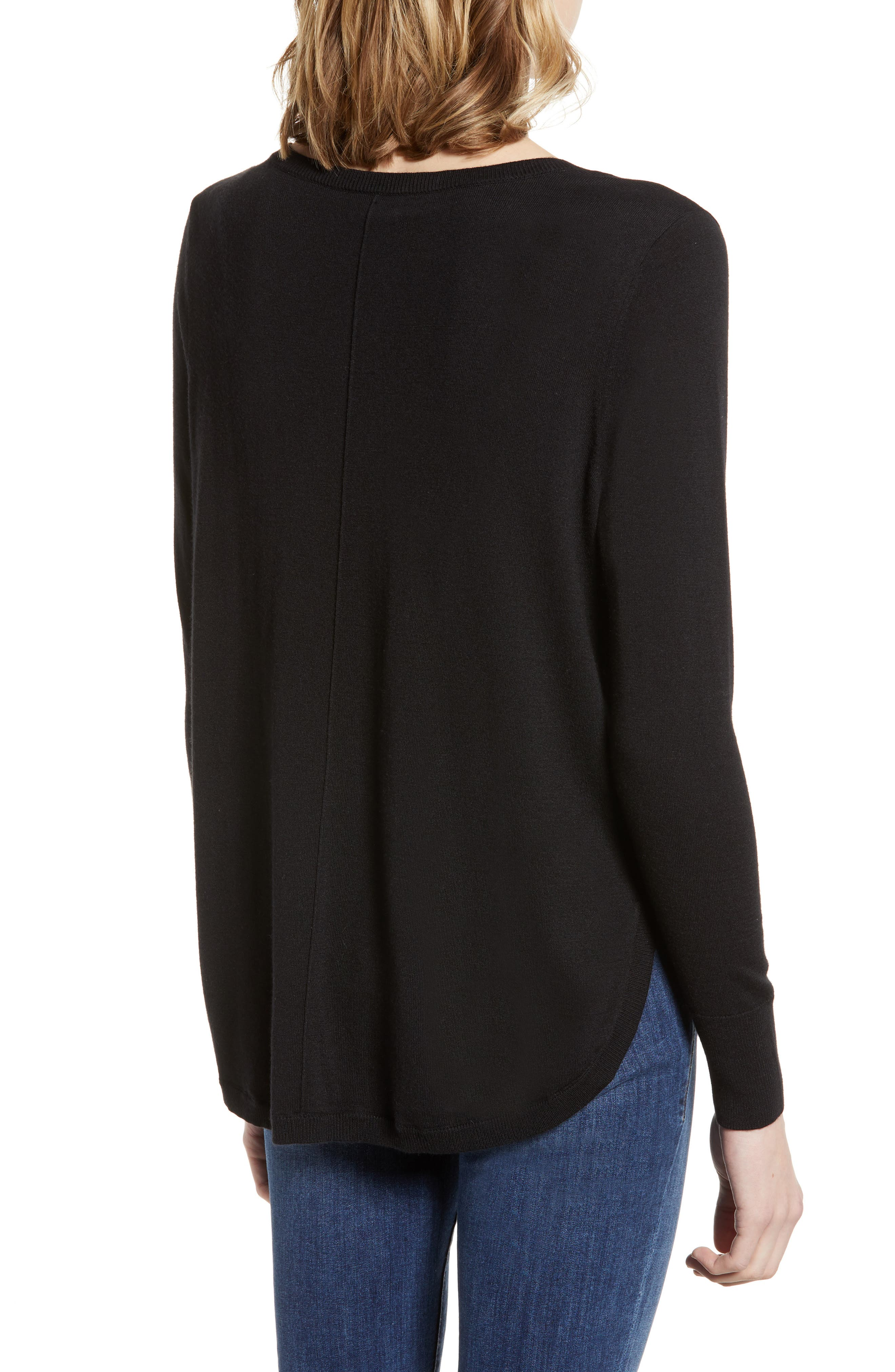 High-Low V-neck Sweater,                             Alternate thumbnail 3, color,                             001
