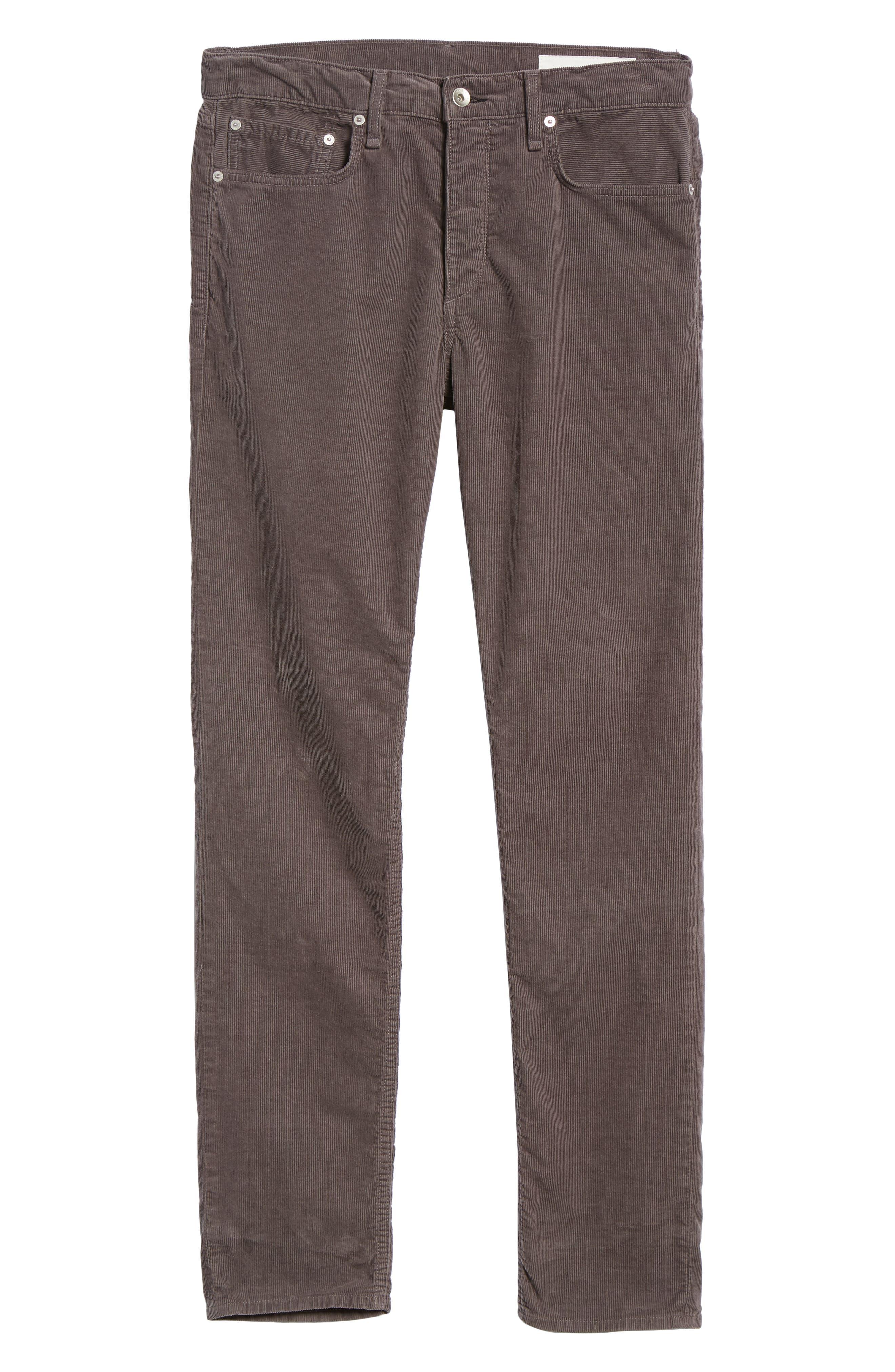 Slim Fit Corduroy Pants,                             Alternate thumbnail 6, color,                             CHARCOAL