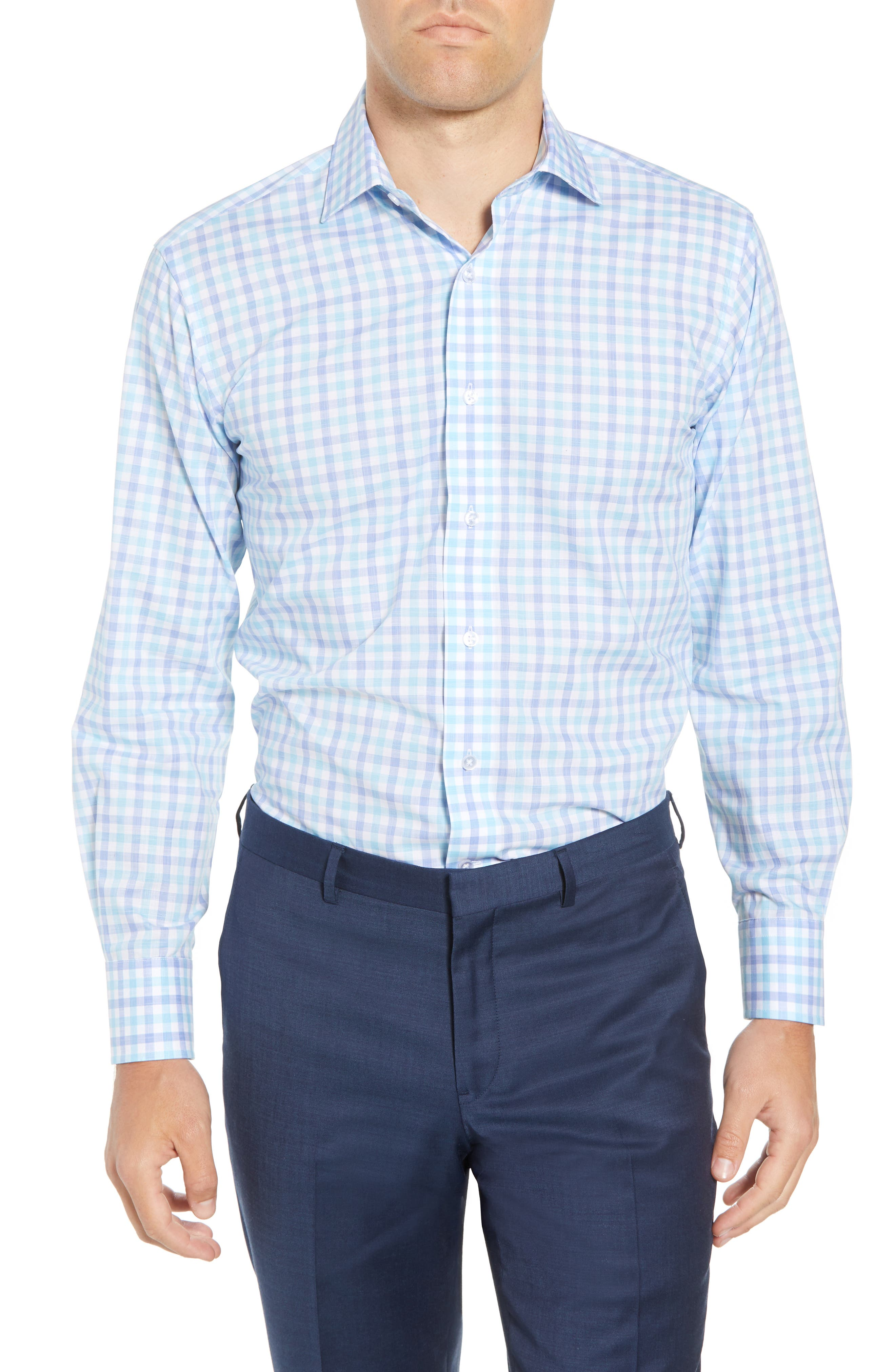 Trim Fit Check Dress Shirt,                         Main,                         color, 439