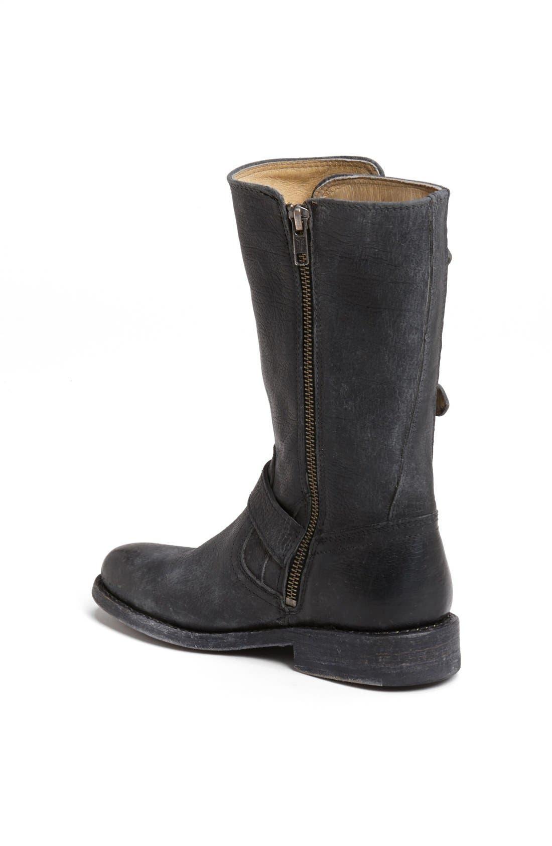 'Jayden' Leather Moto Boot,                             Alternate thumbnail 4, color,                             001