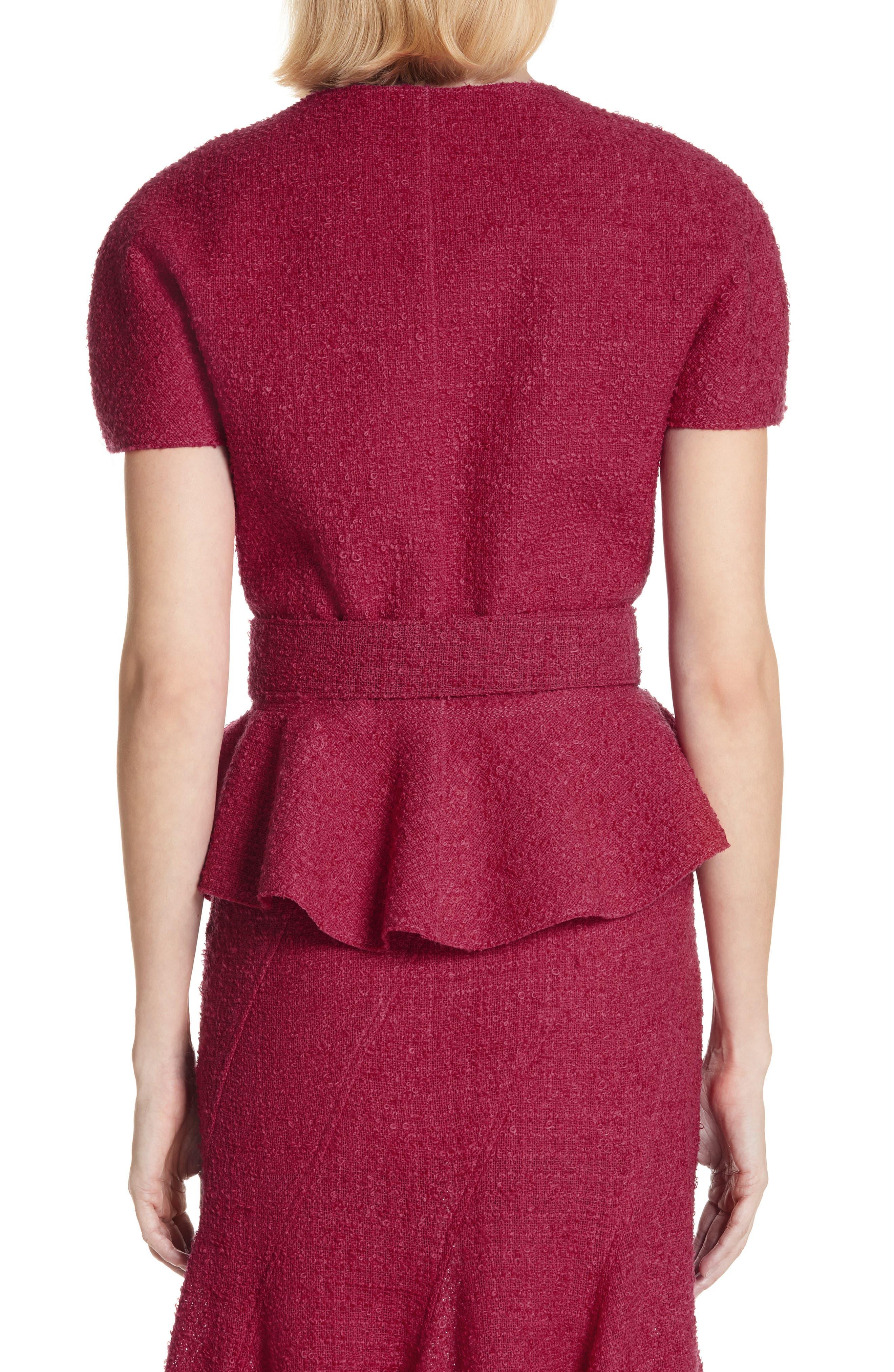 Belted Peplum Wool Blend Tweed Jacket,                             Alternate thumbnail 2, color,                             607