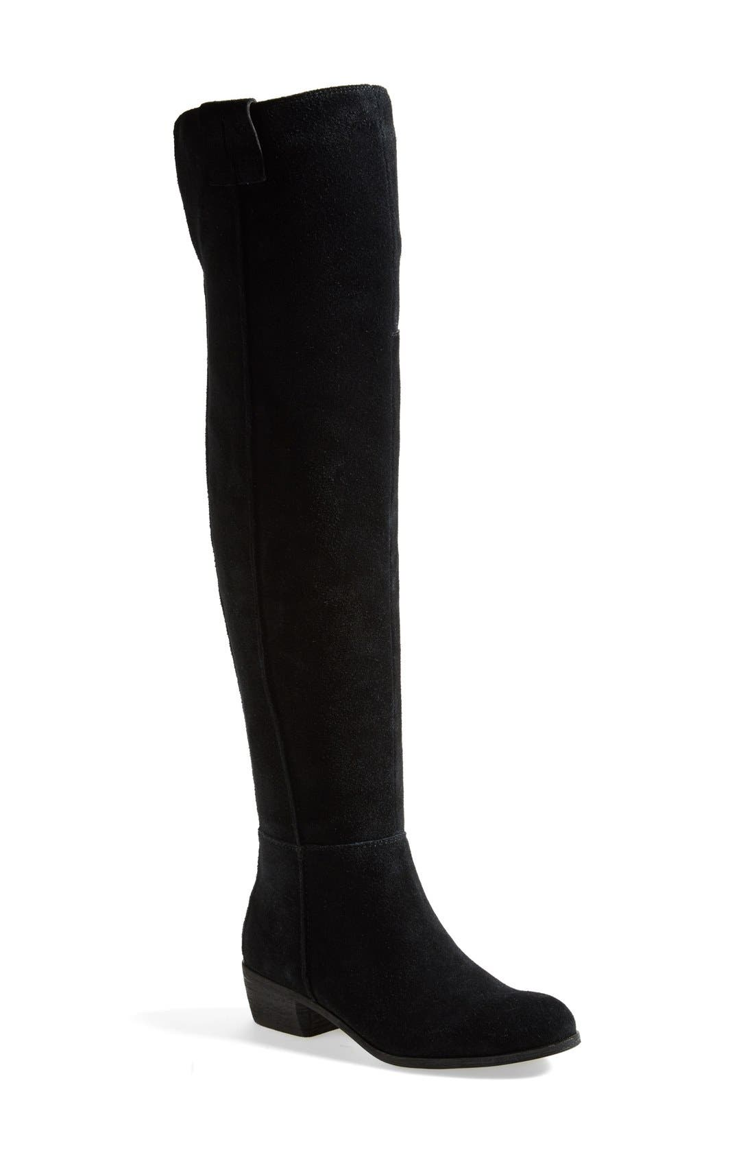 'Johanna' Over the Knee Suede Boot,                             Main thumbnail 1, color,                             001