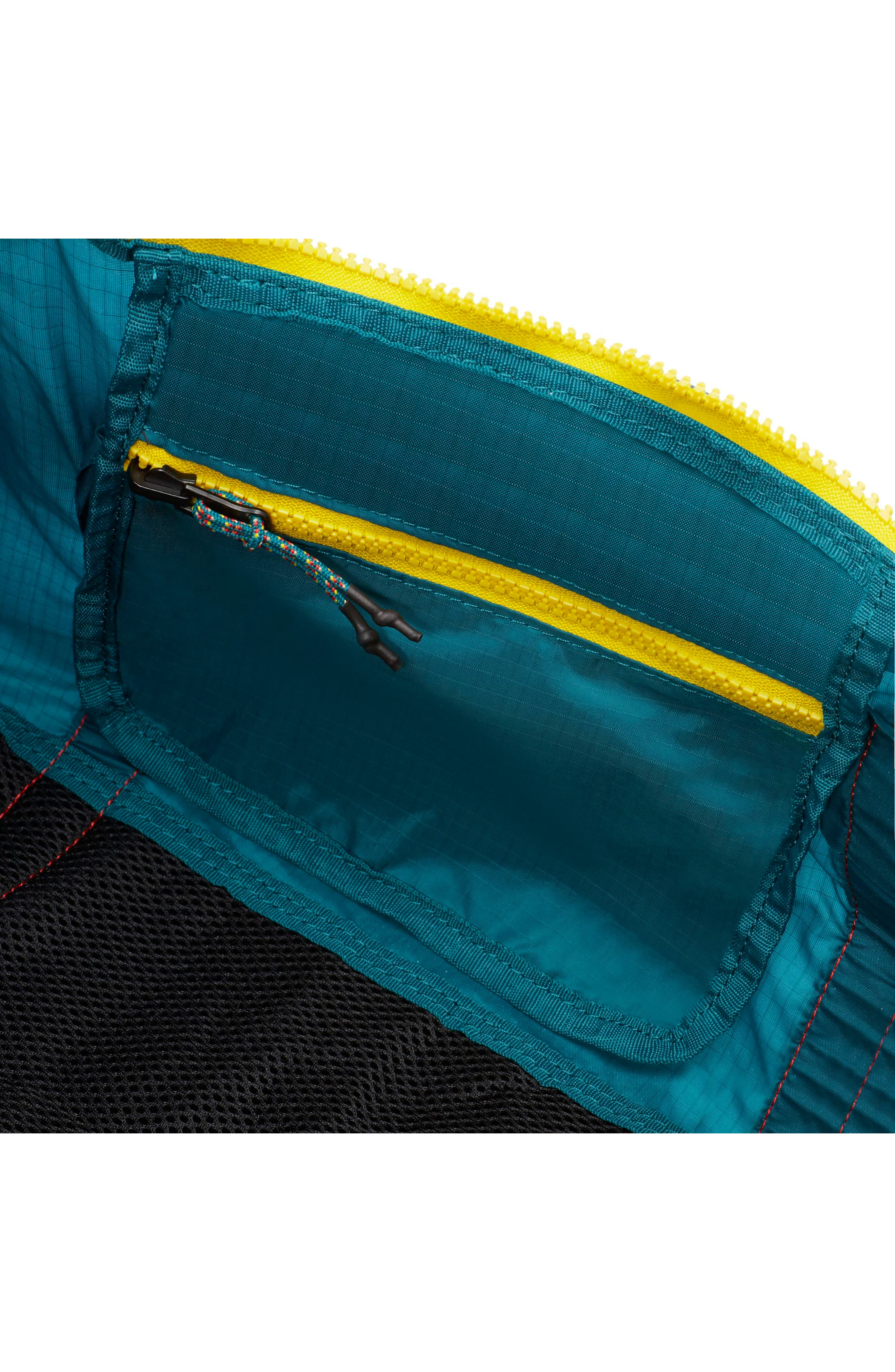 Packable Duffel Bag,                             Alternate thumbnail 4, color,                             GEODE TEAL/ HABANERO RED