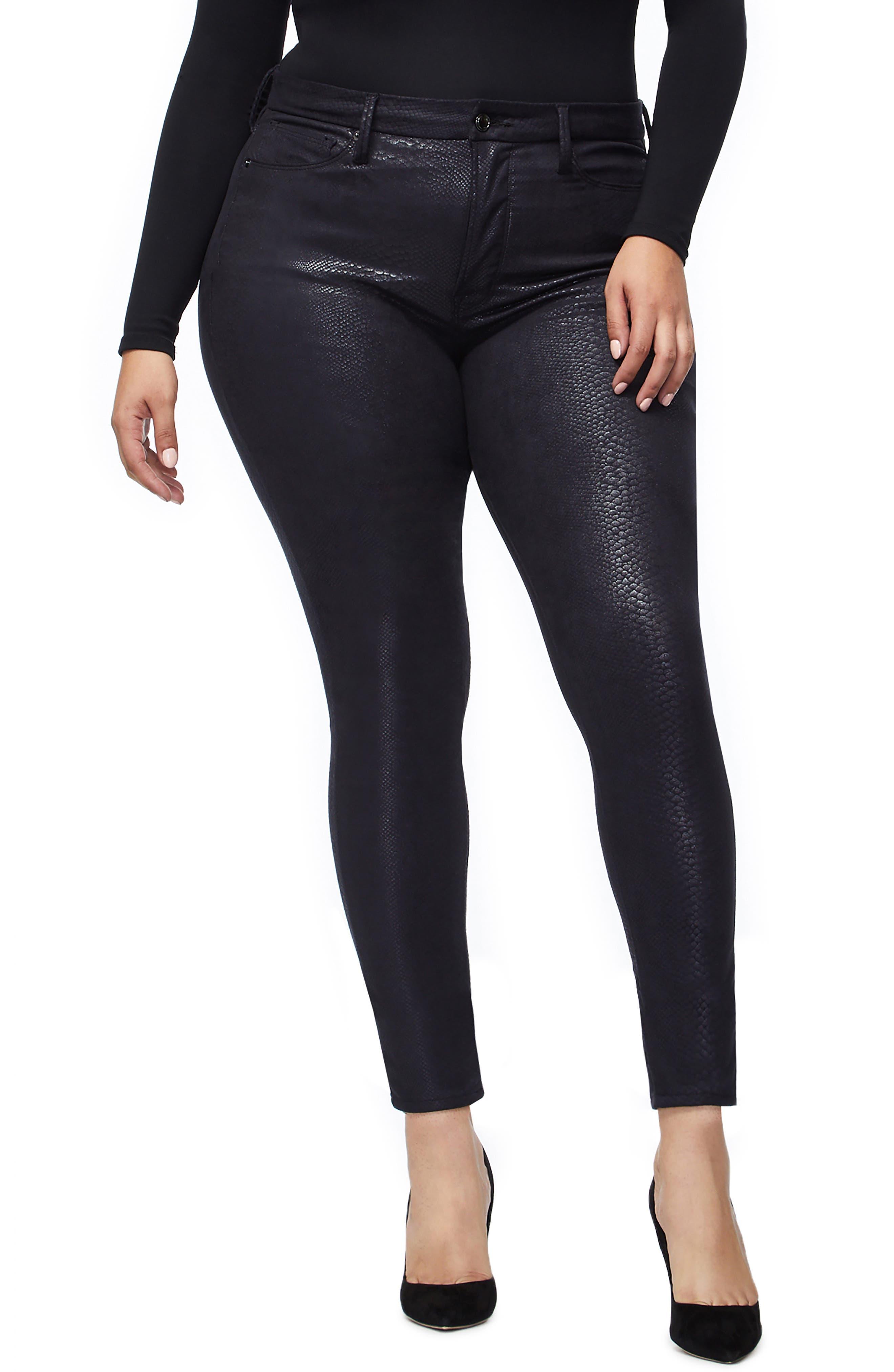 GOOD AMERICAN,                             Good Legs Metallic Snake Print Skinny Jeans,                             Alternate thumbnail 2, color,                             BLACK041