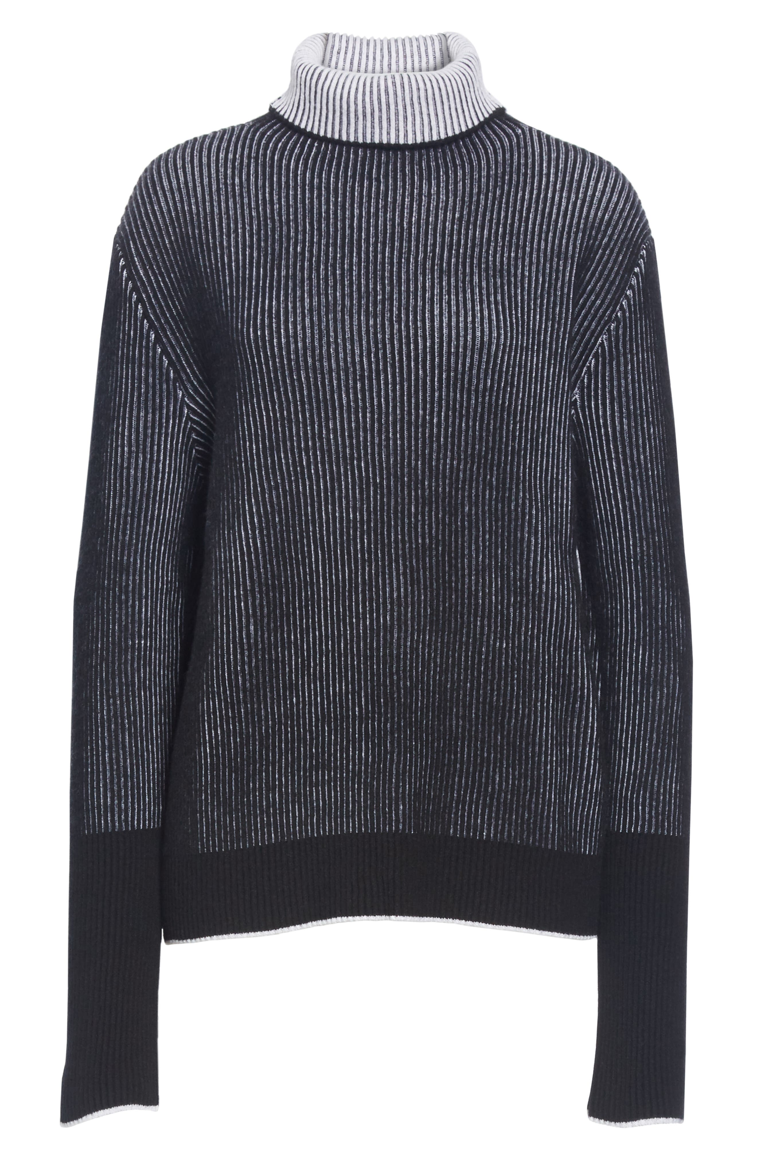 AAA Turtleneck Cashmere Sweater,                             Alternate thumbnail 6, color,                             BLACK/ CREAM